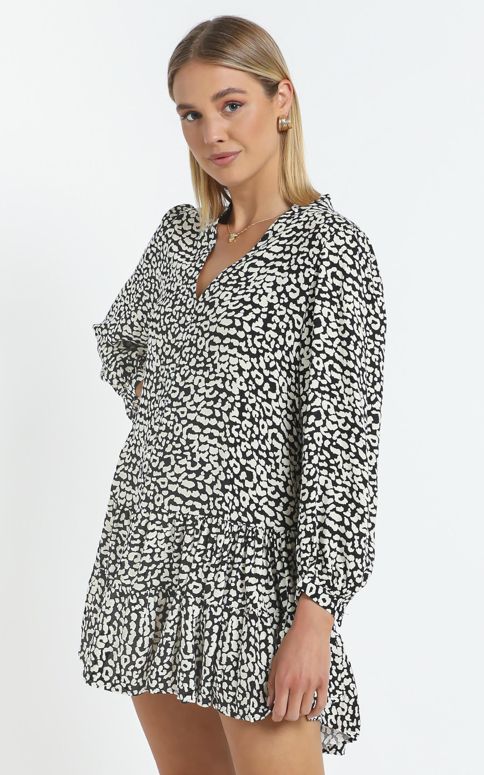 Skylar Dress in Leopard Print - 14 (XL), White, hi-res image number null