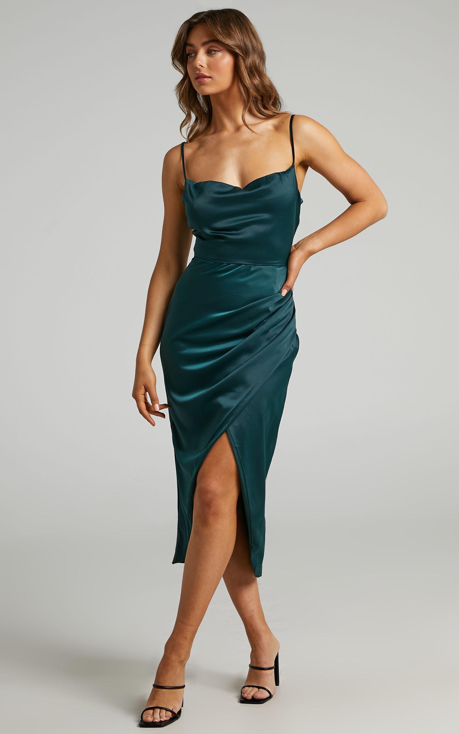 Dazzling Lights Dress in Emerald Satin - 06, GRN3, hi-res image number null