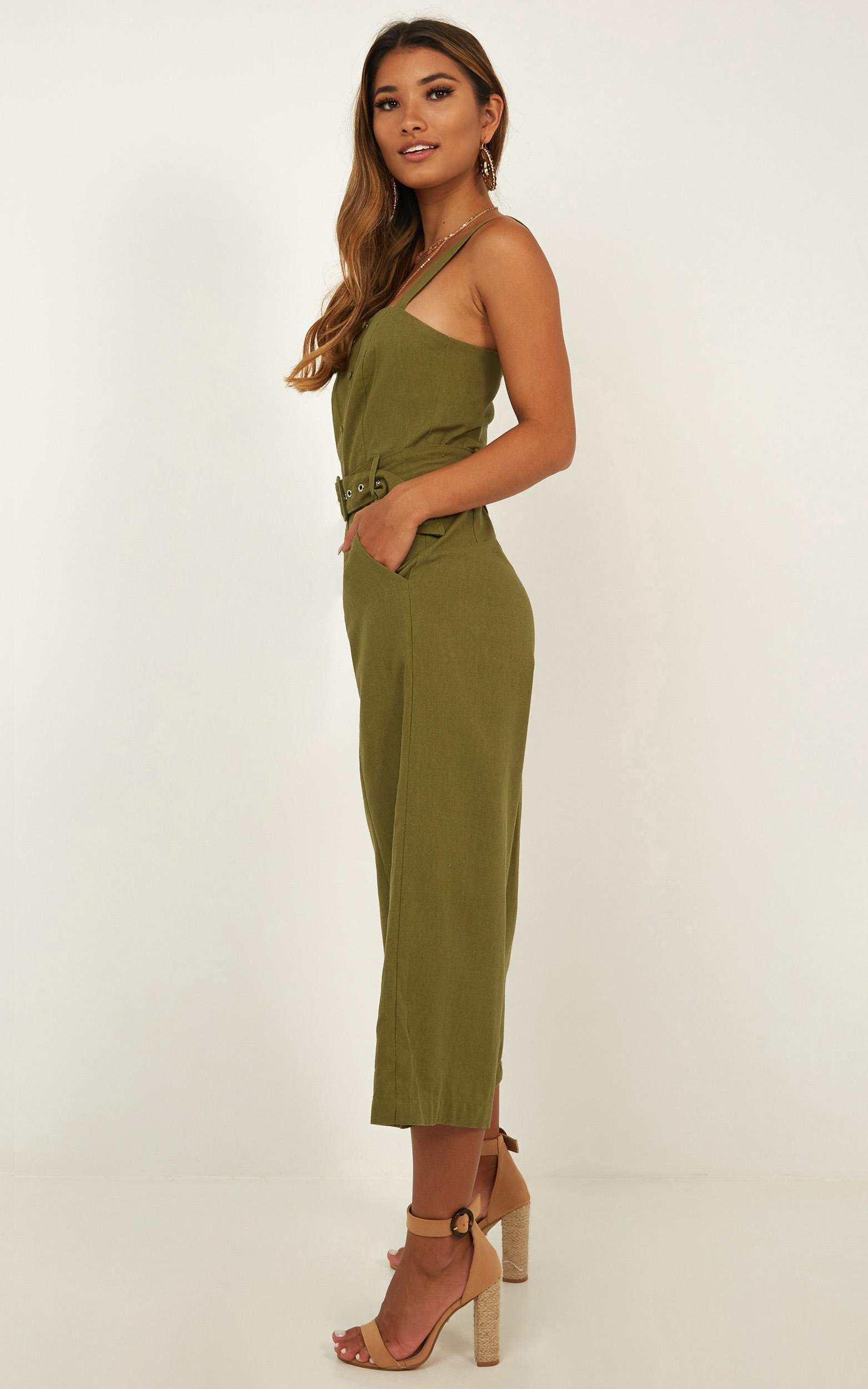 What If Jumpsuit in khaki linen look - 4 (XXS), Khaki, hi-res image number null