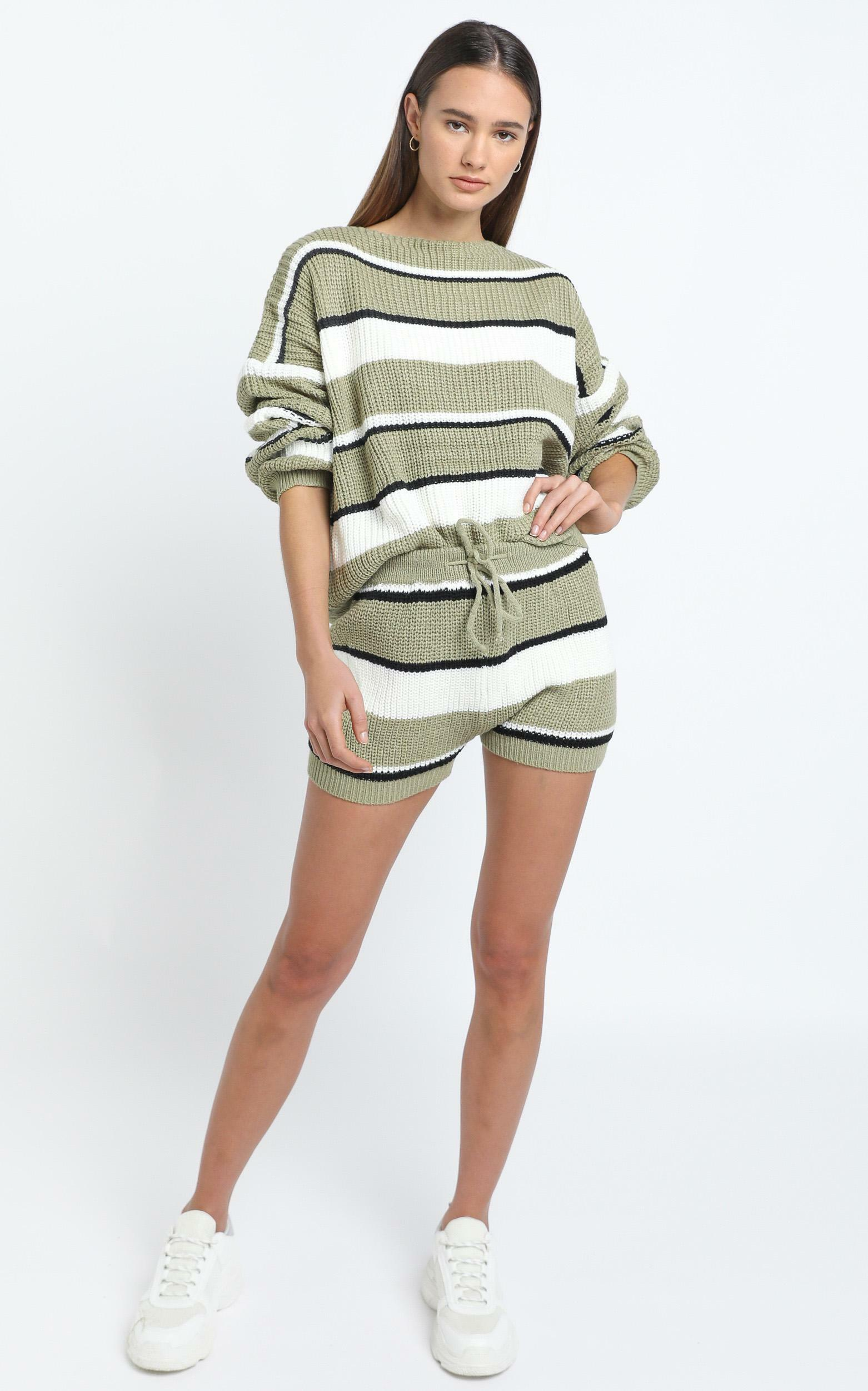 Eeva Two Piece Set in Green Stripe - L/XL, Green, hi-res image number null