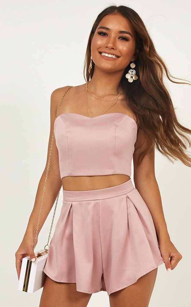 Dion Two Piece set in blush satin - 12 (L), Blush, hi-res image number null