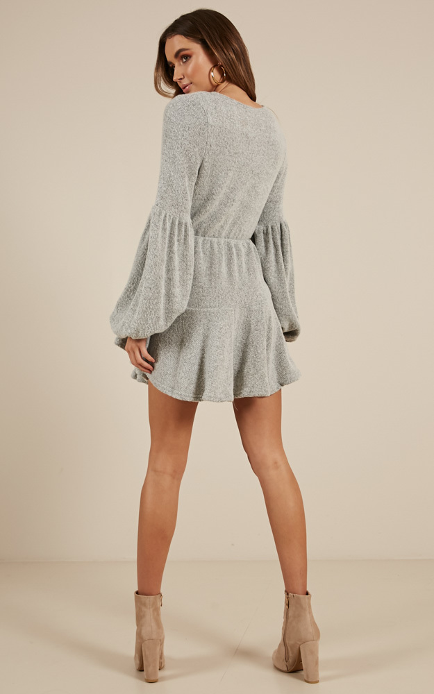 Not Your Hero dress in grey marle - 14 (XL), Grey, hi-res image number null