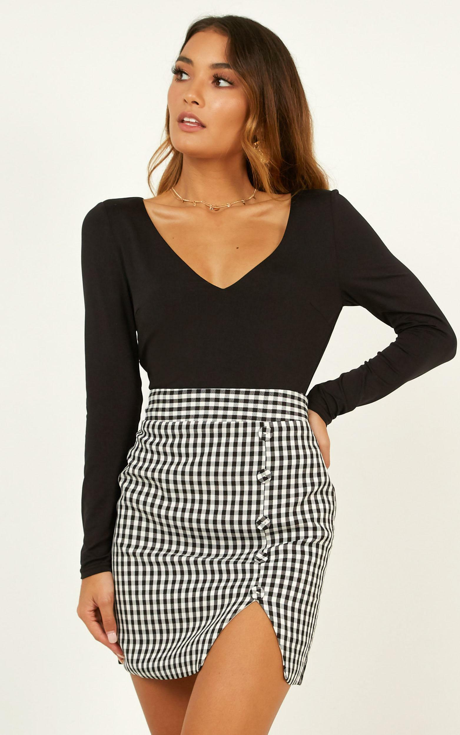 Cancelled Plans Skirt In Black Check - 16 (XXL), Black, hi-res image number null