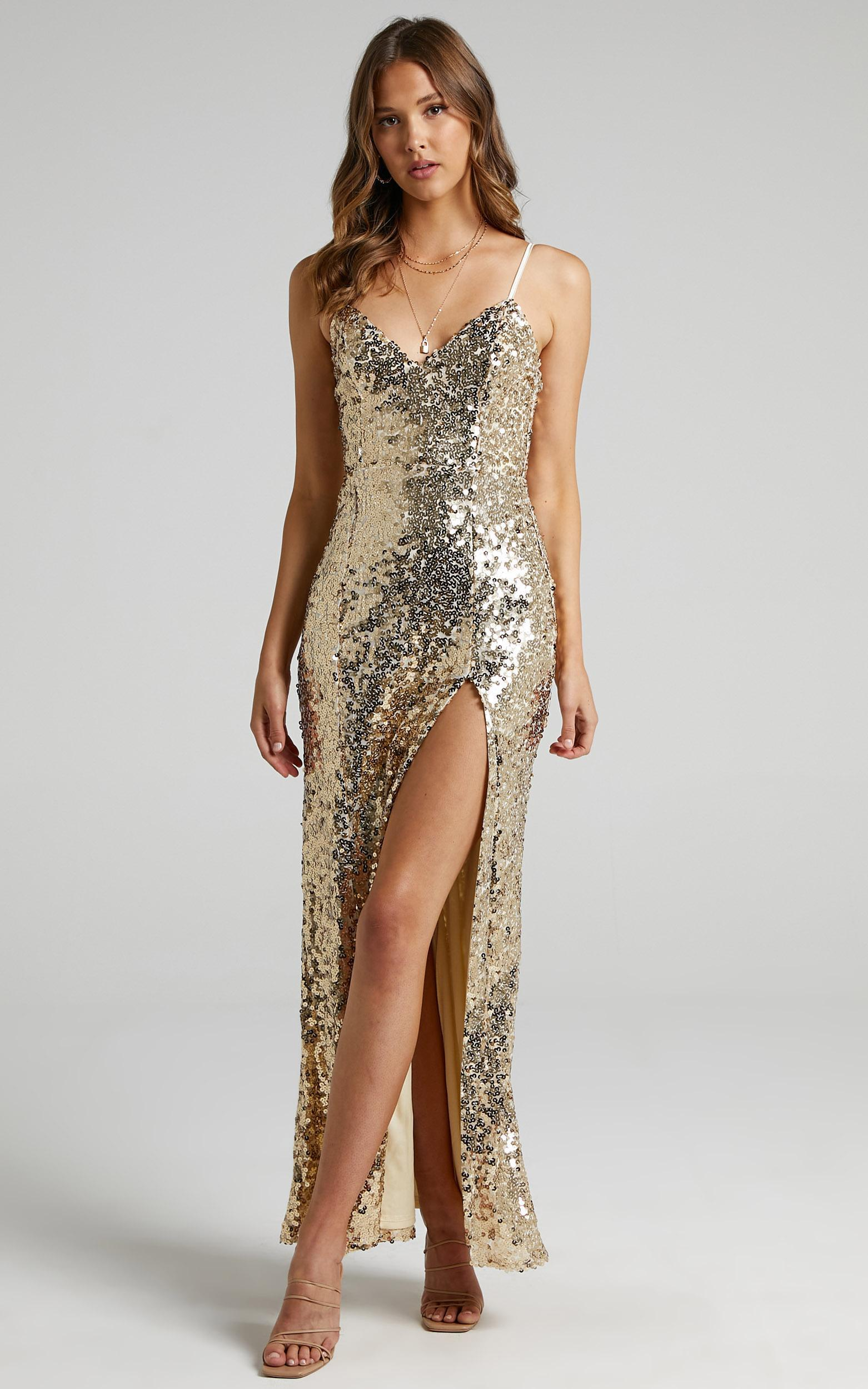 Mikela Dress in Gold Sequin - 6 (XS), Gold, hi-res image number null