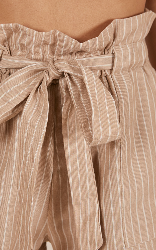 All Rounder shorts in beige stripe - 6 (XS), Brown, hi-res image number null