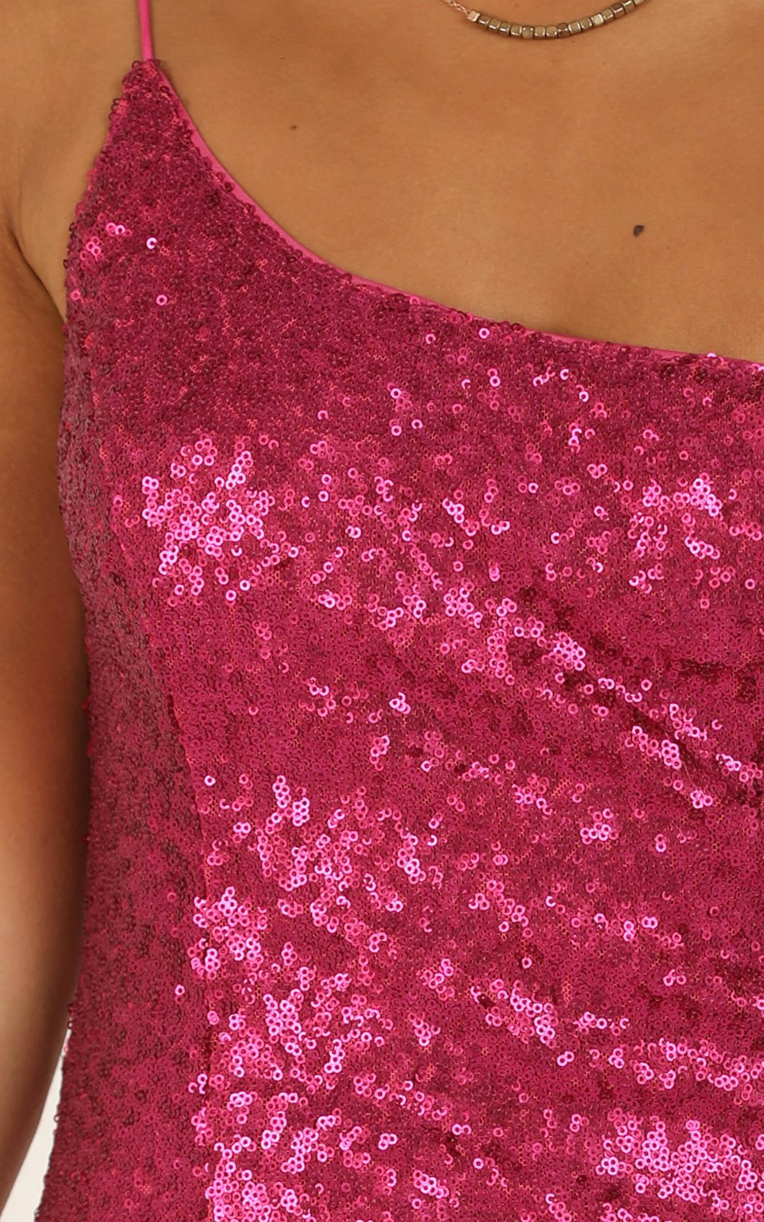 Speak Life To Me dress in pink sequin - 16 (XXL), Pink, hi-res image number null