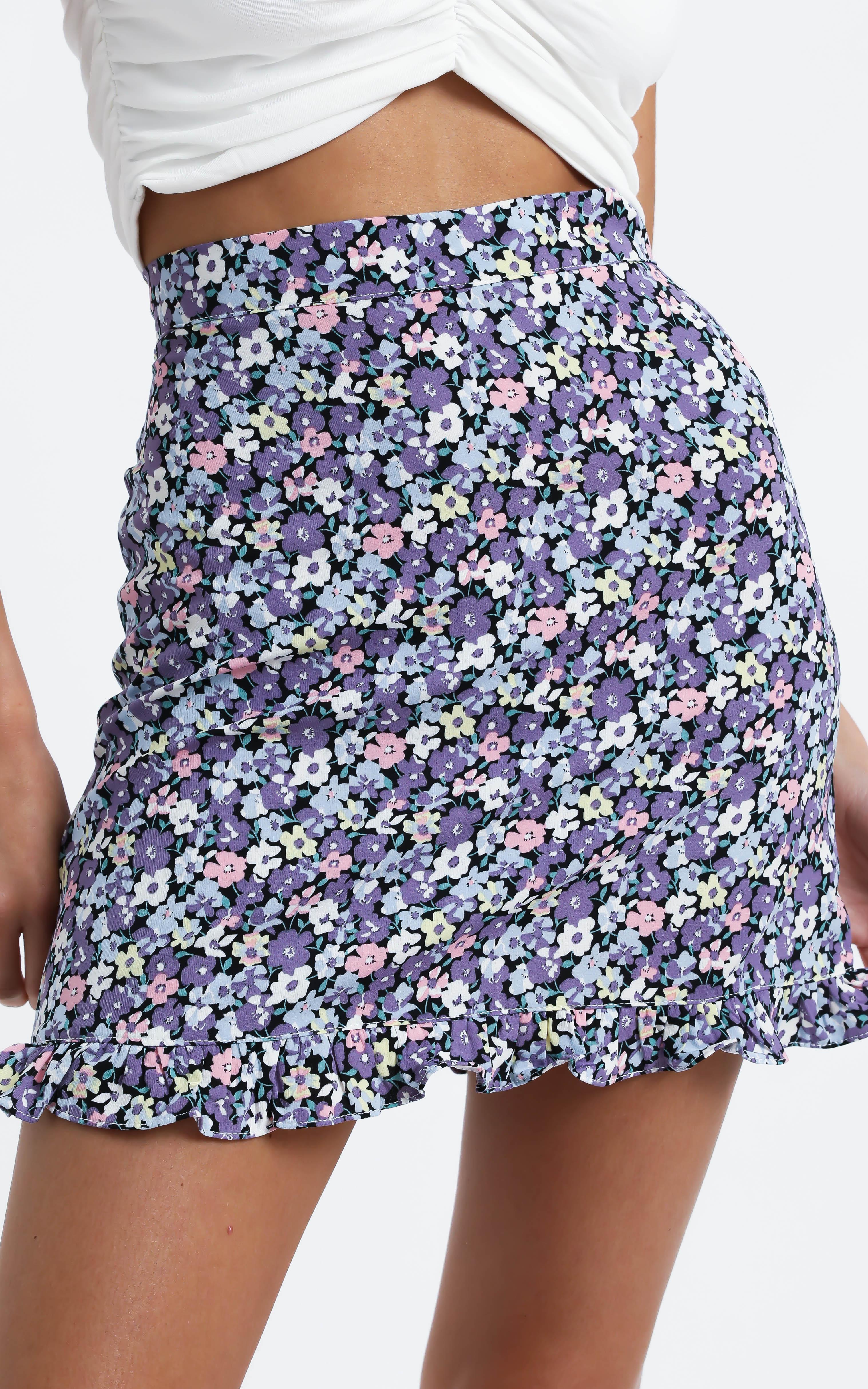 Bellissima Skirt in Purple Floral - 12 (L), Purple, hi-res image number null