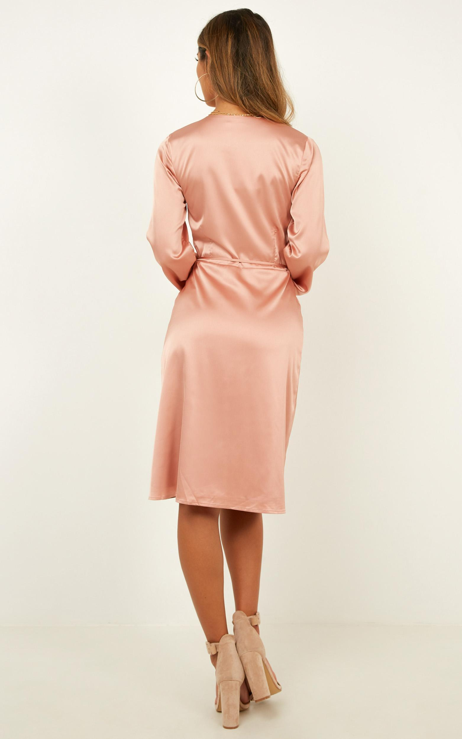Half A Million Dress in Nude Satin - 12 (L), Blush, hi-res image number null