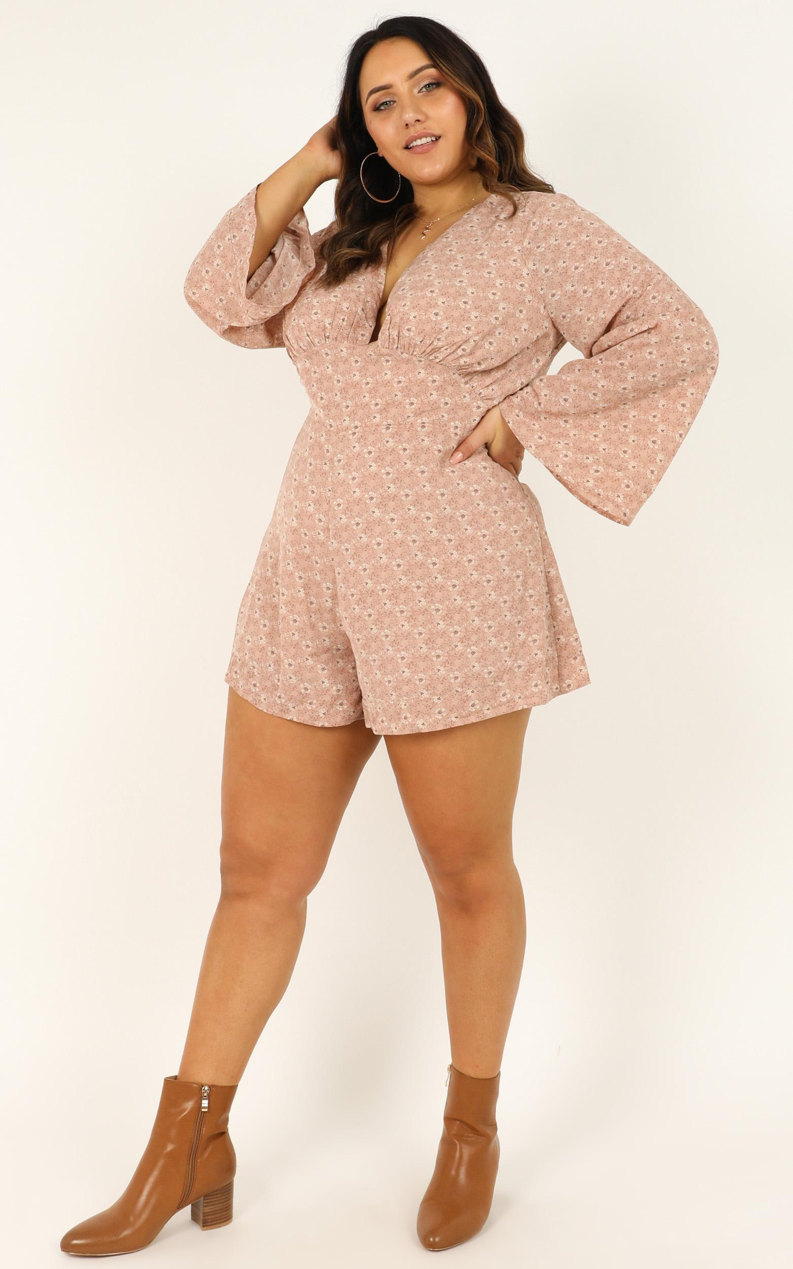 Mystery Lover Playsuit in blush floral - 20 (XXXXL), Blush, hi-res image number null