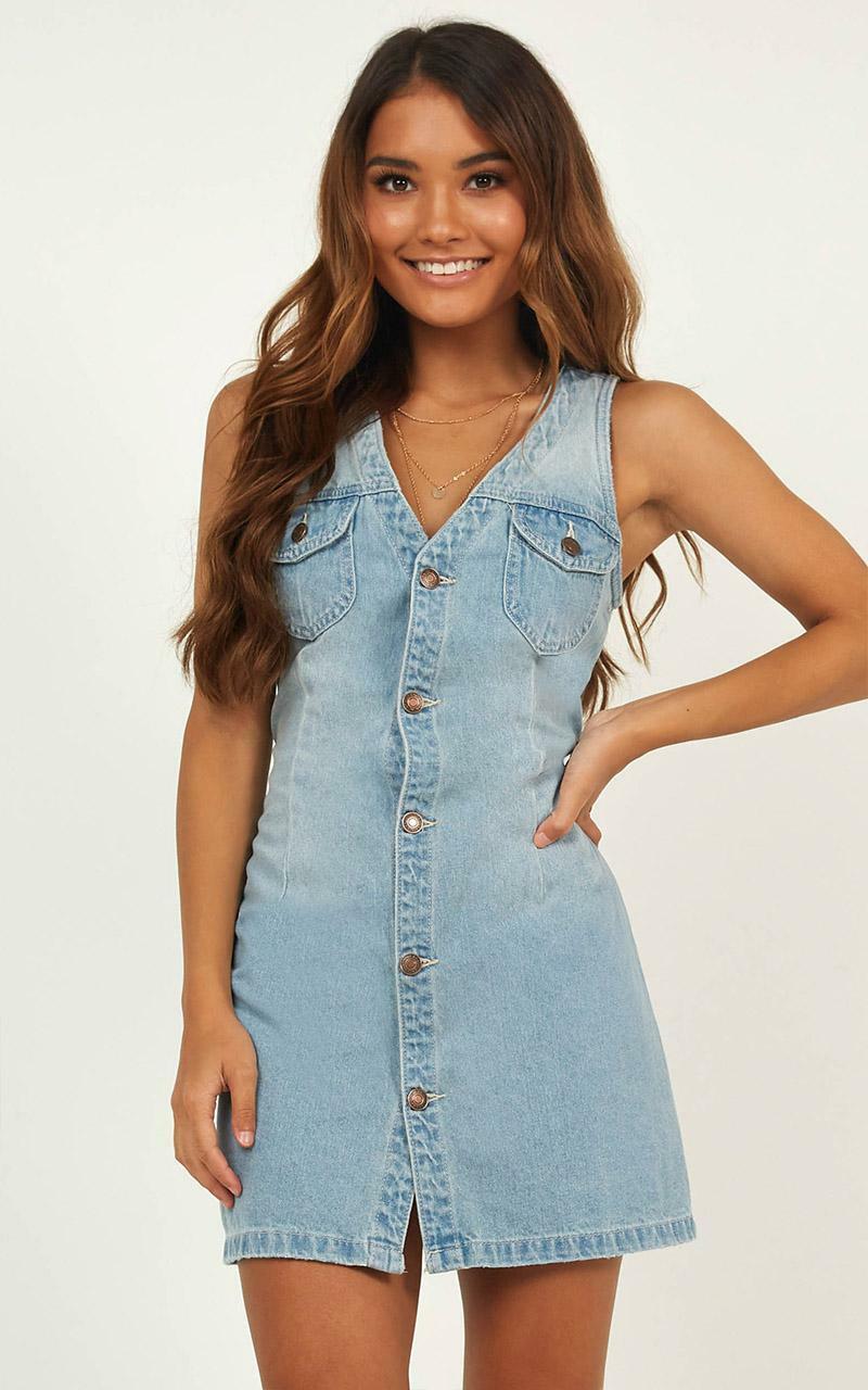 Get Up dress in light wash denim - 10 (M), Blue, hi-res image number null