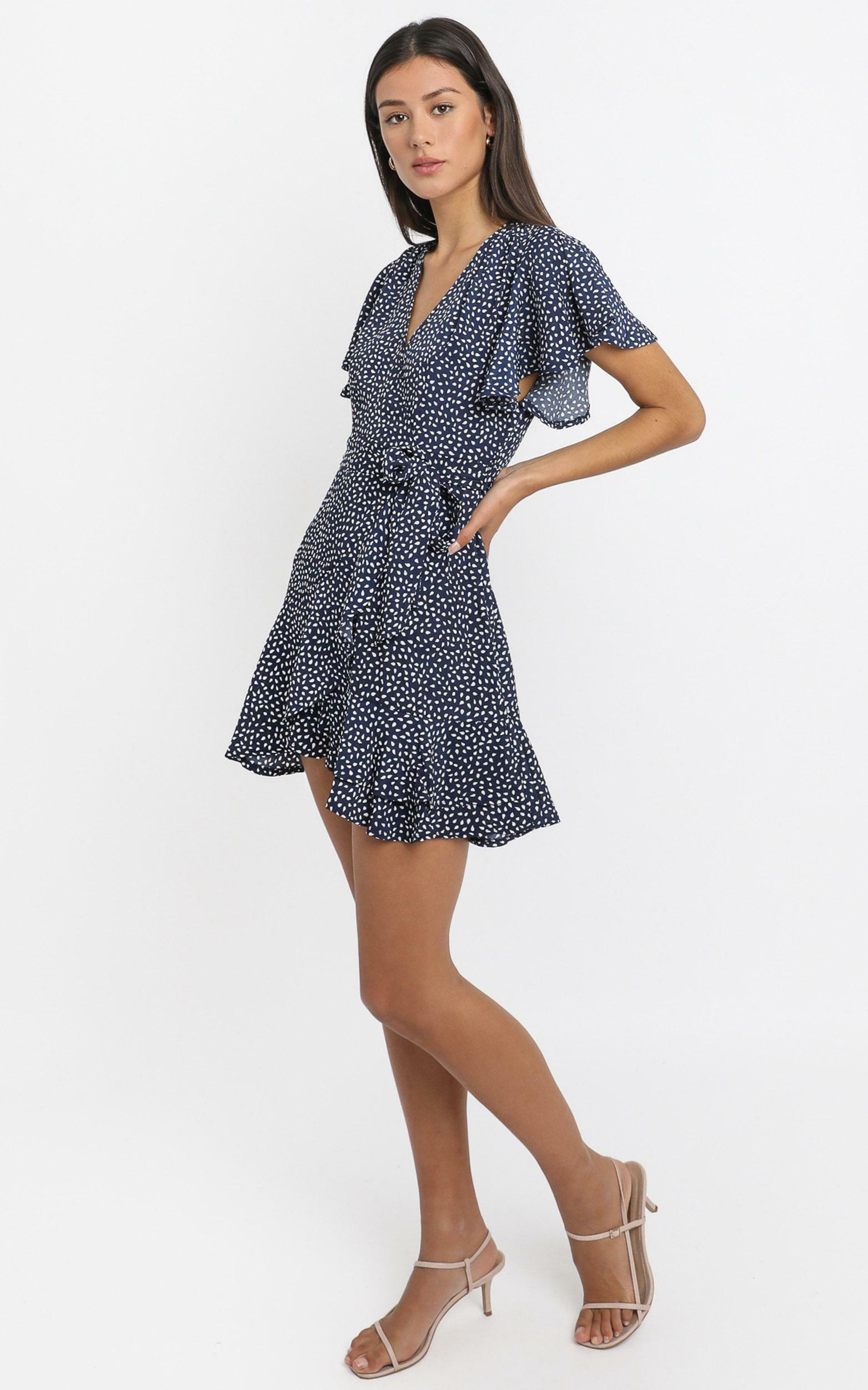 Constance Dress in Navy Spot - 6 (XS), Navy, hi-res image number null