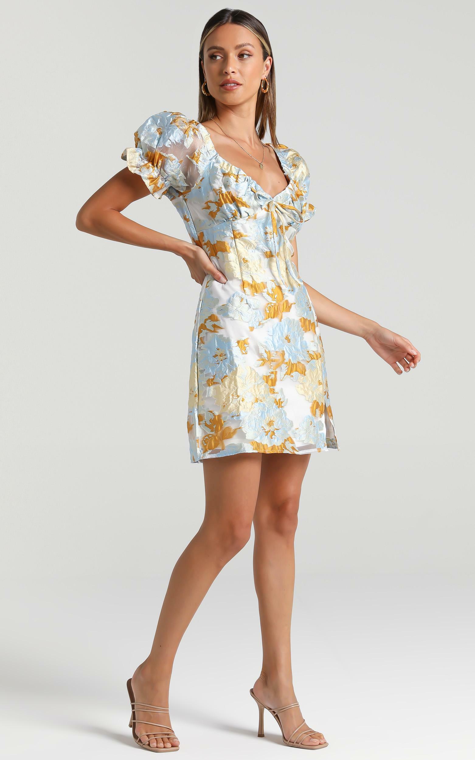 Rachelle Dress in Blue Floral - 6 (XS), Blue, hi-res image number null