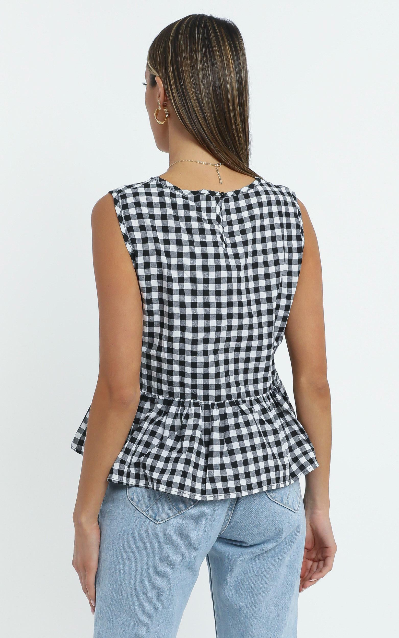 Kianna Top in Black Check - 14 (XL), Black, hi-res image number null