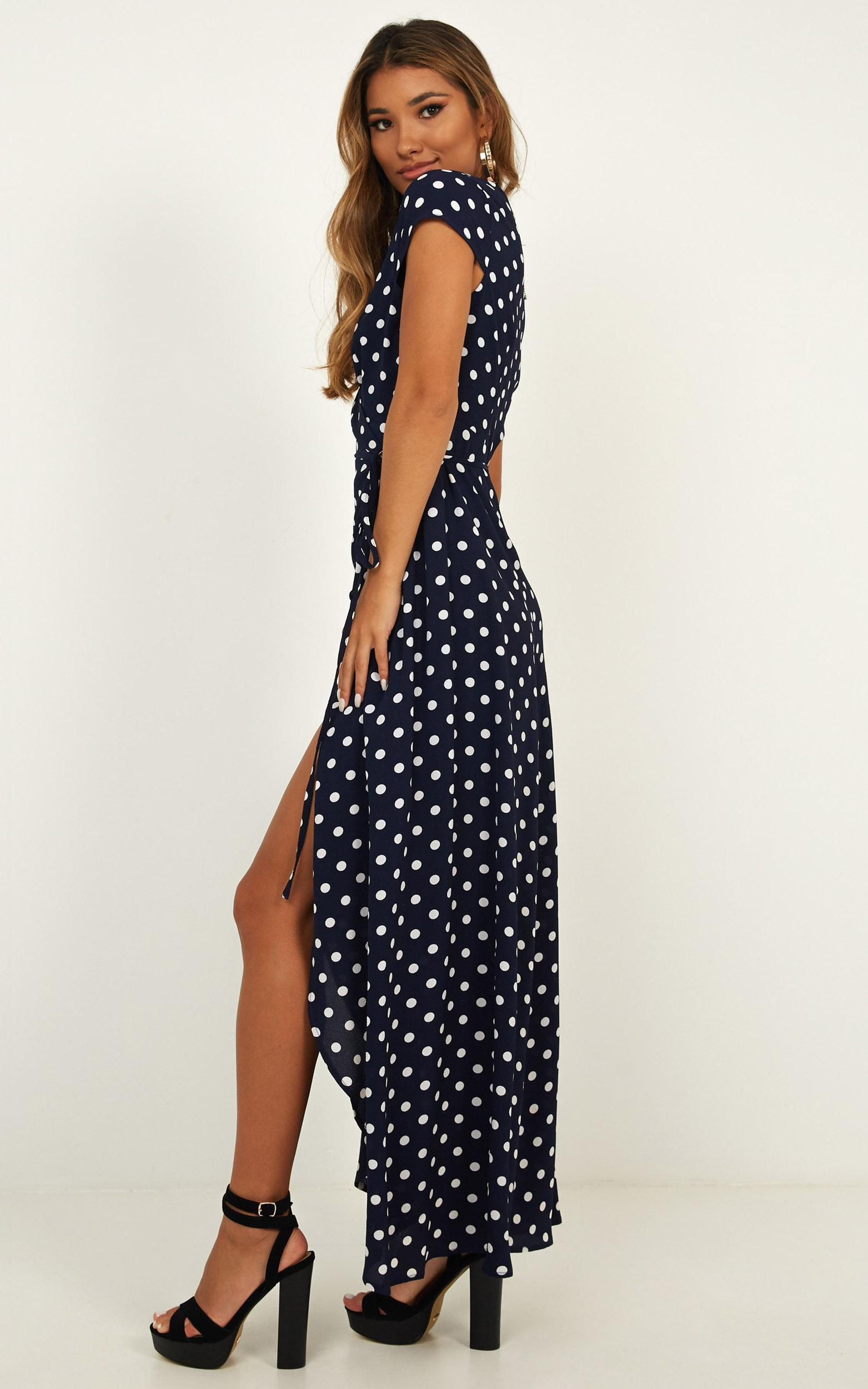 Wrap and Cross maxi dress in navy spot - 20 (XXXXL), Navy, hi-res image number null