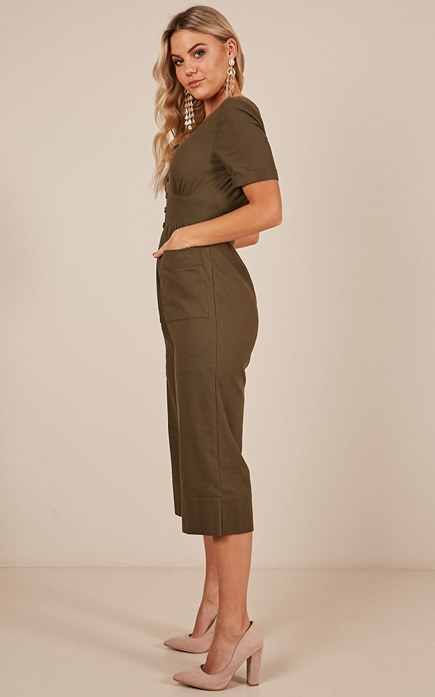 Following The Leader Jumpsuit in khaki Linen Look - 14 (XL), Khaki, hi-res image number null