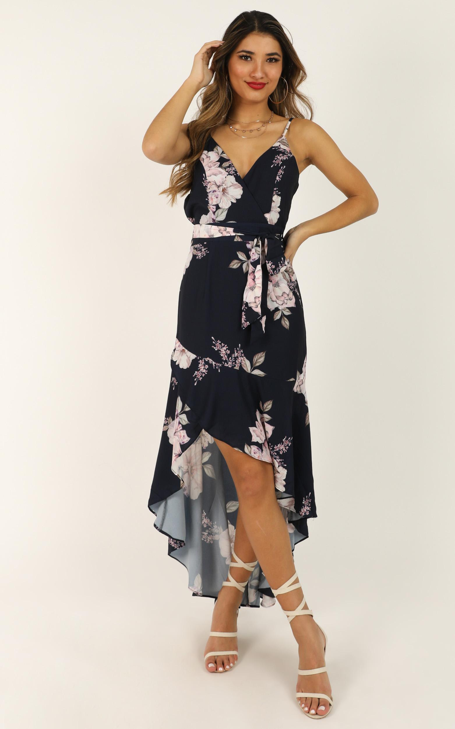 Open Communication dress in navy floral - 16 (XXL), Navy, hi-res image number null