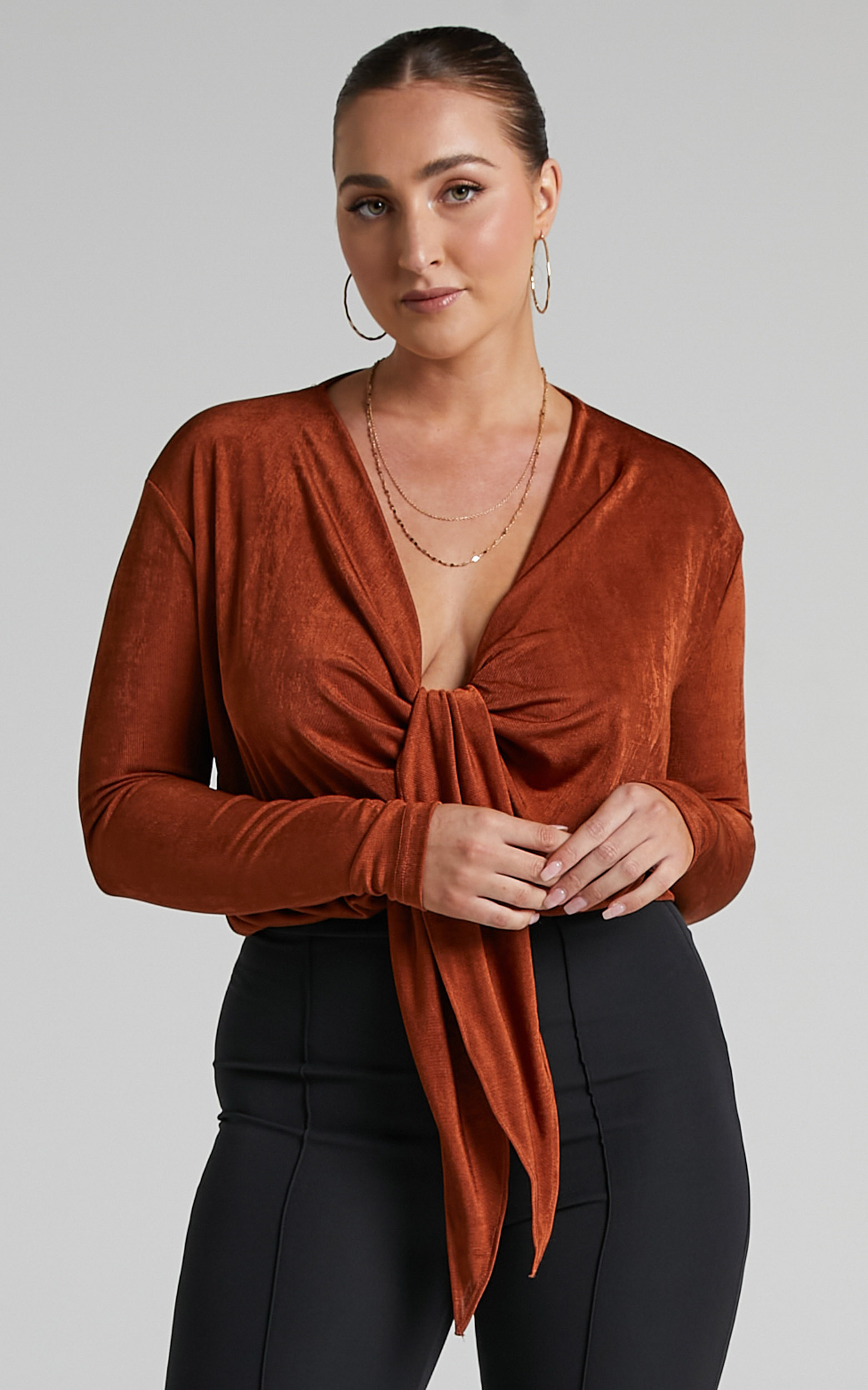 Cortez Plunging Centre Front Waist Tie Top in Rust - 06, BRN3, hi-res image number null