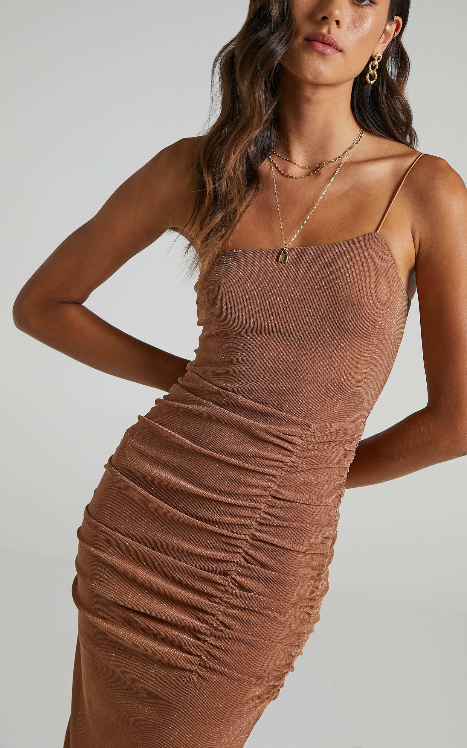 Annelie Dress In Tan Lurex - 6 (XS), Tan, hi-res image number null