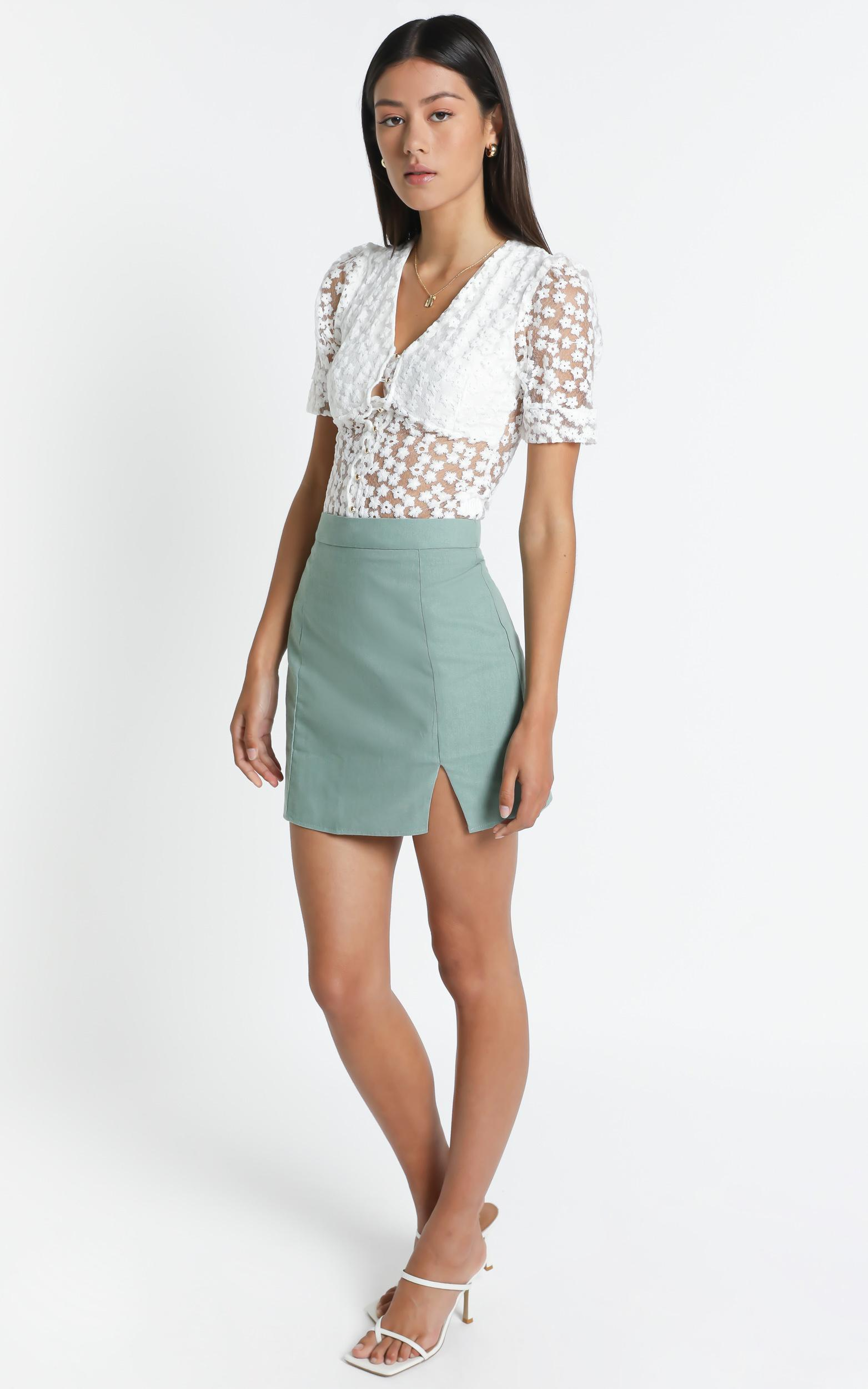 International Babe Skirt In sage linen look - 4 (XXS), GRN1, hi-res image number null