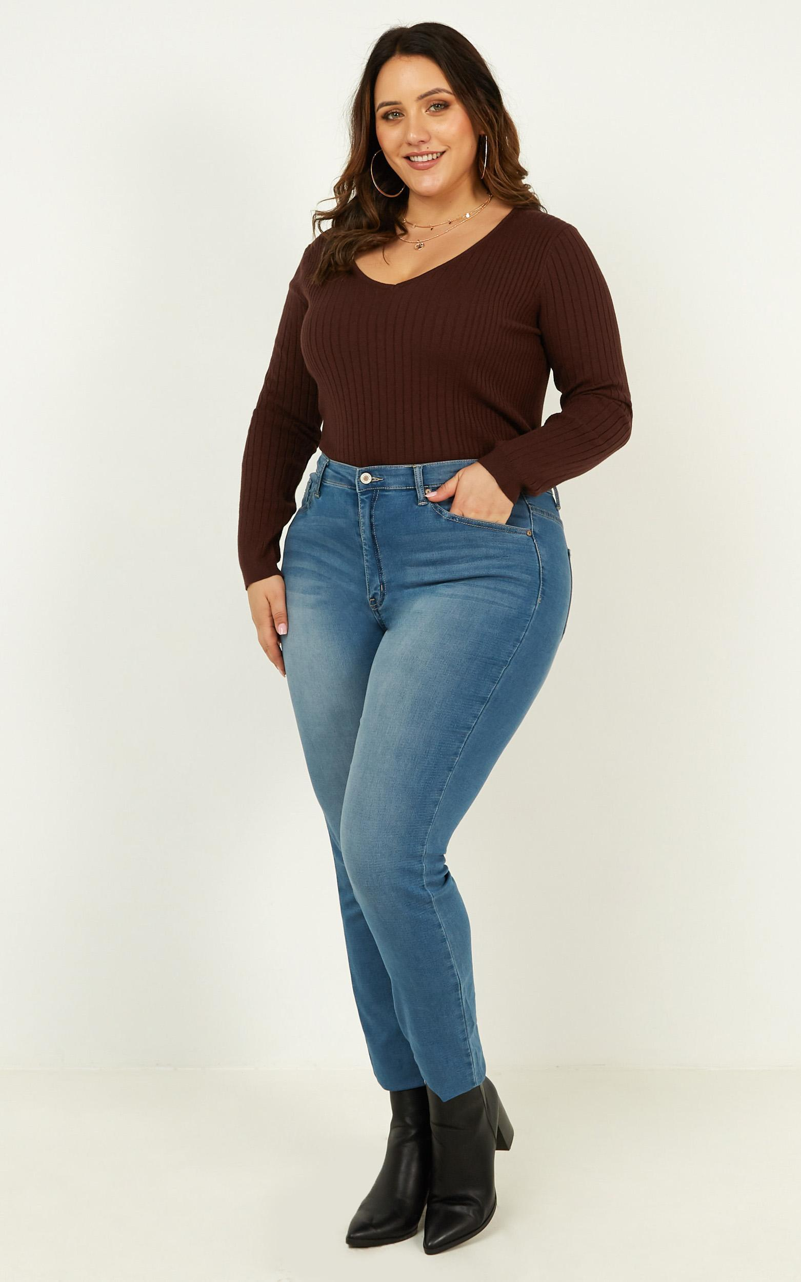 Lovely Love Knit Top In chocolate - 20 (XXXXL), Brown, hi-res image number null