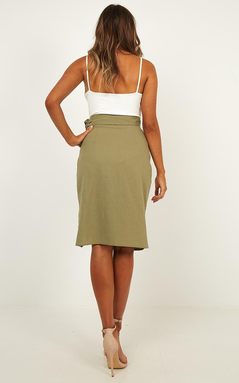 CareFree Soul Skirt in khaki linen look, Khaki, hi-res image number null