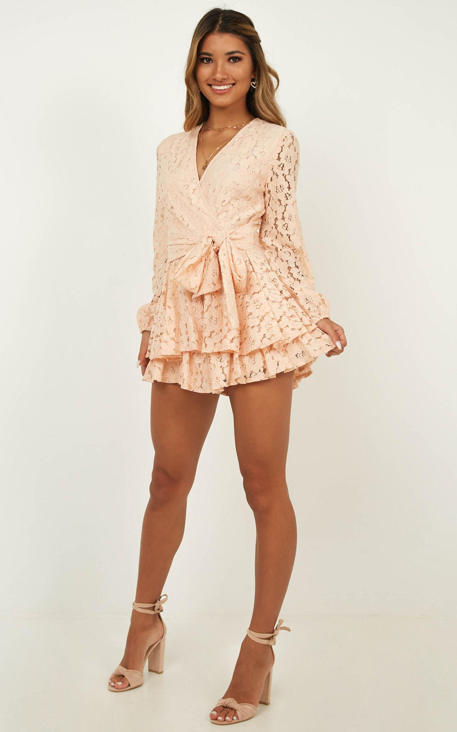 Communal Love Playsuit In Blush Lace - 4 (XXS), Blush, hi-res image number null