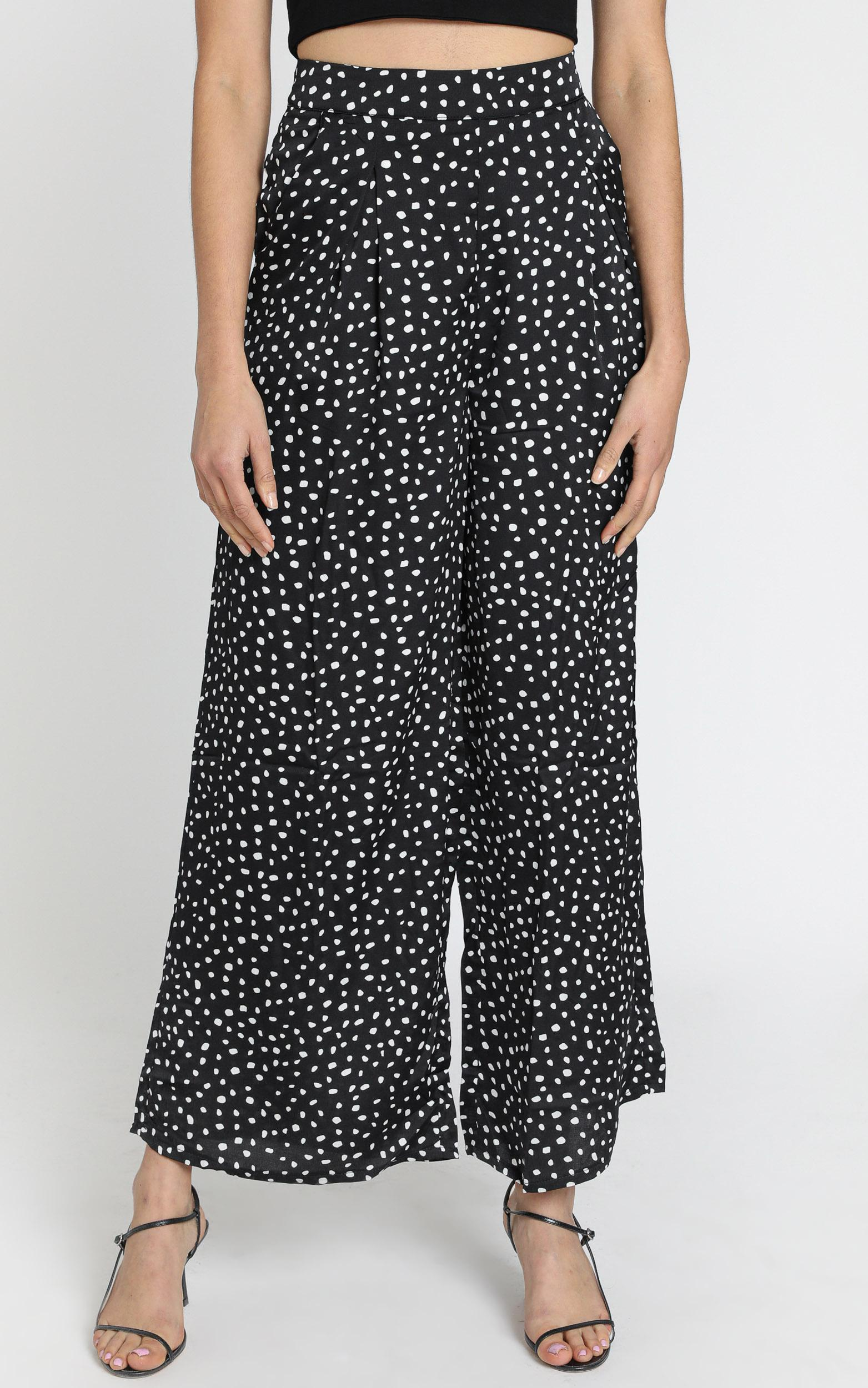 Bondi Babe Pants in Black Spot- 6 (XS), Black, hi-res image number null