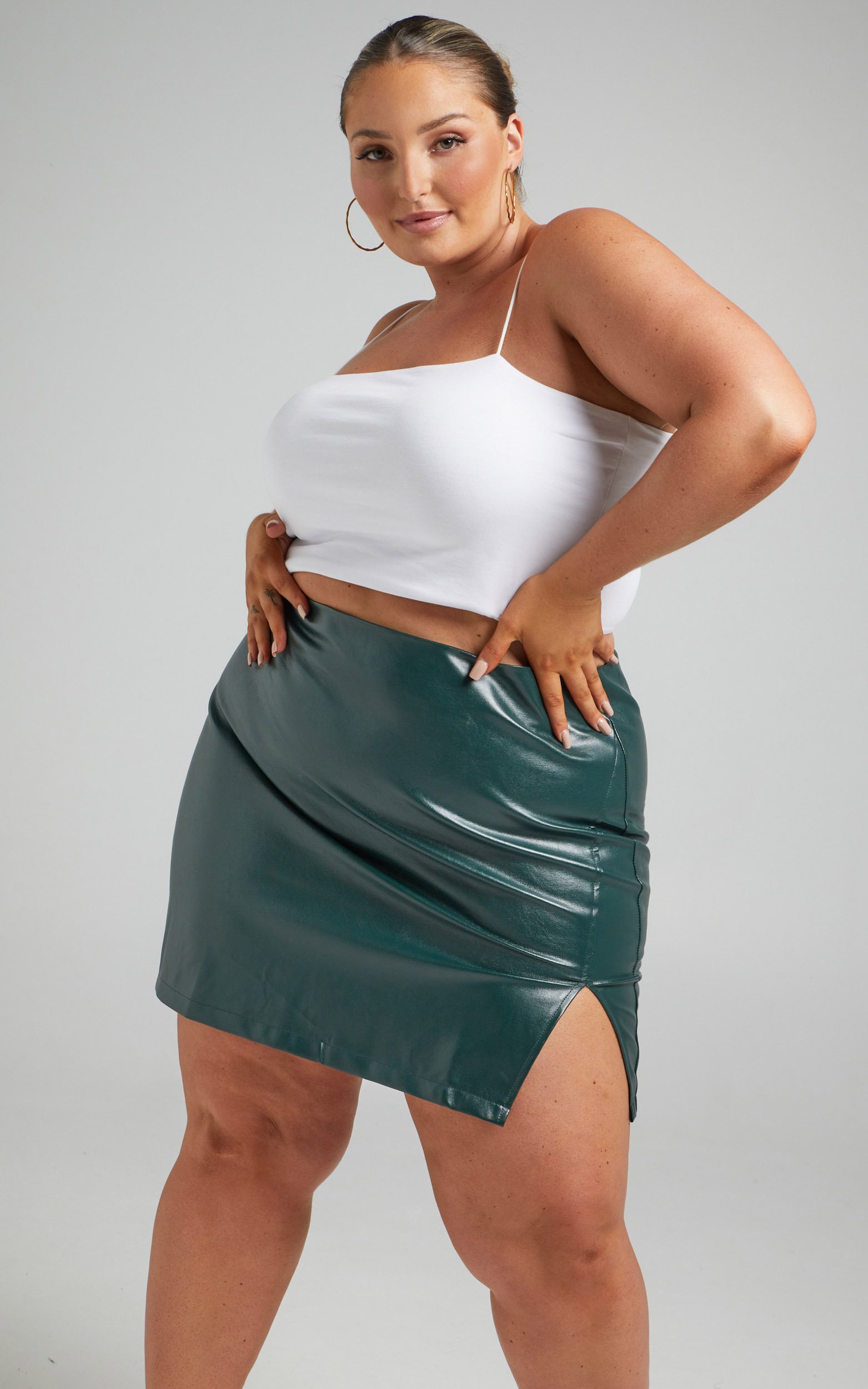 In The Name Of Love  Leatherette Mini Skirt in Emerald Leatherette - 04, GRN2, hi-res image number null