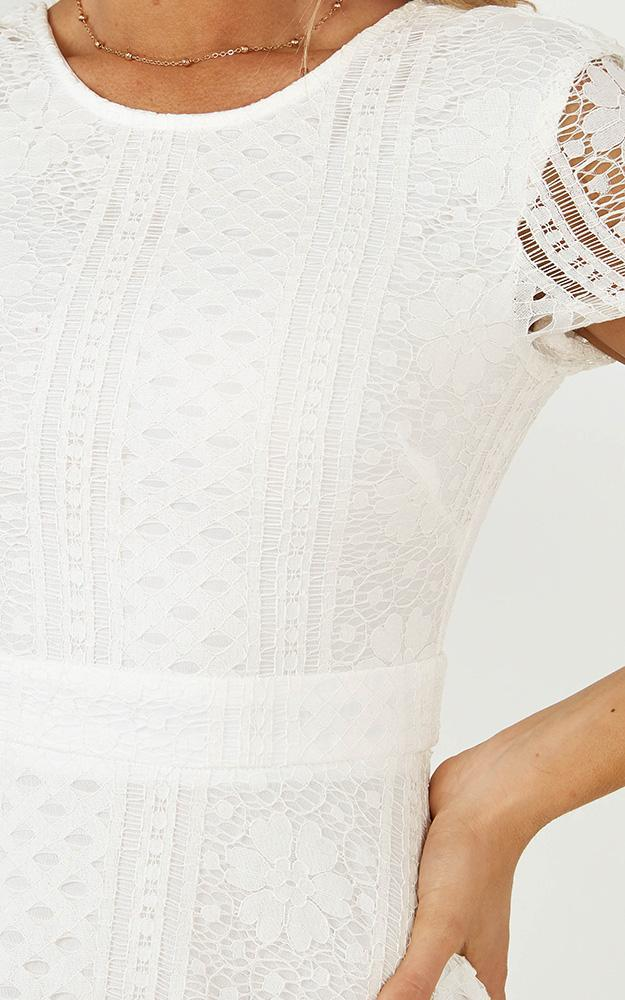 Gentle Nudge Dress in White Lace - 20 (XXXXL), White, hi-res image number null