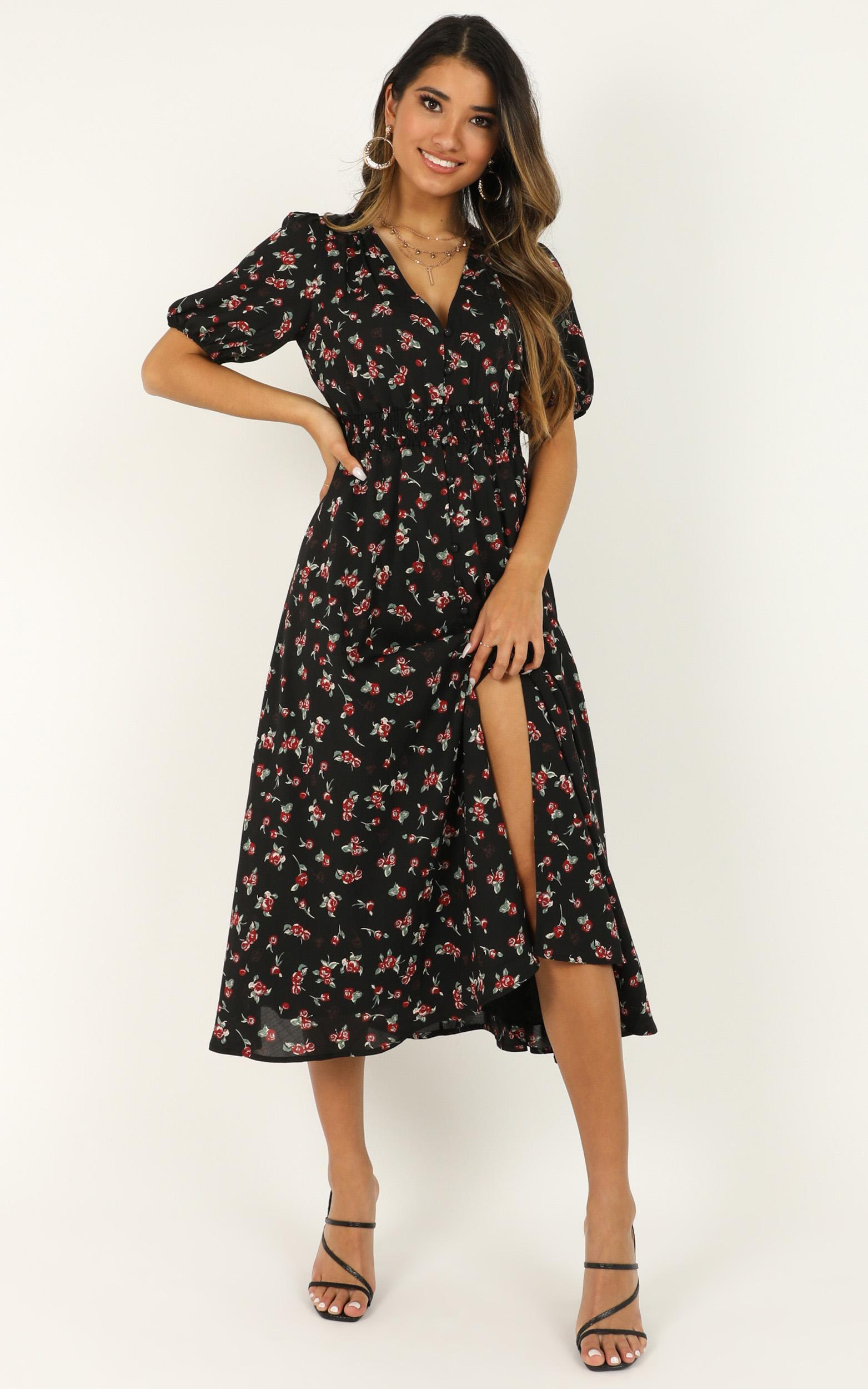 What Do You Want Dress in black floral - 20 (XXXXL), Black, hi-res image number null
