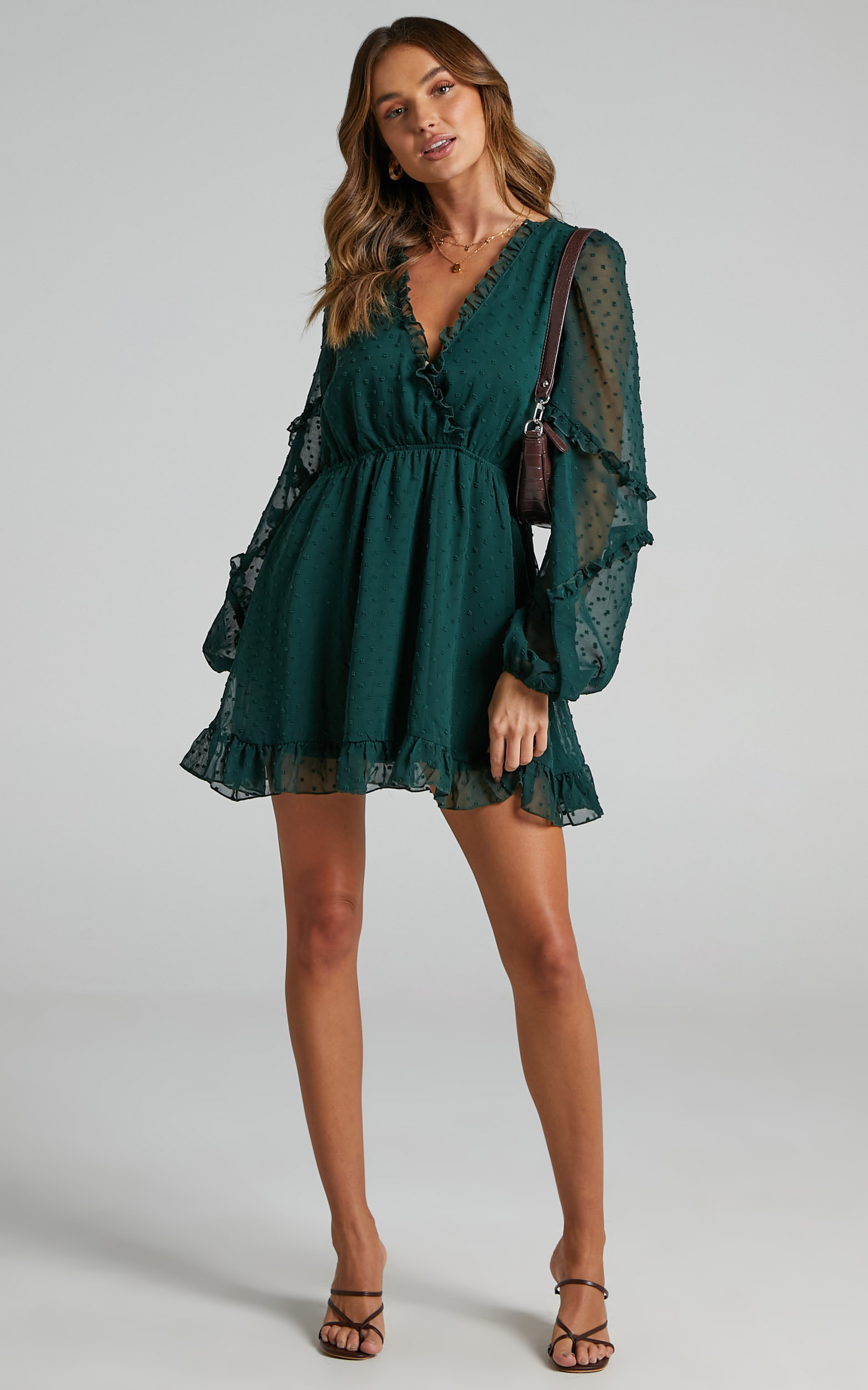 Sancha Long Sleeve Frill Mini Dress in Emerald - 06, GRN2, hi-res image number null
