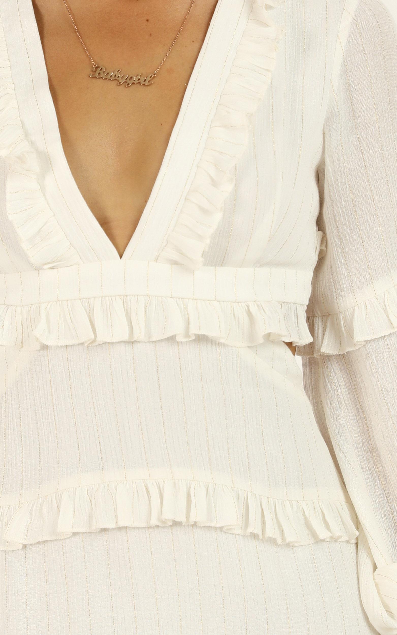 I Feel Great Dress In white lurex Stripe - 20 (XXXXL), White, hi-res image number null