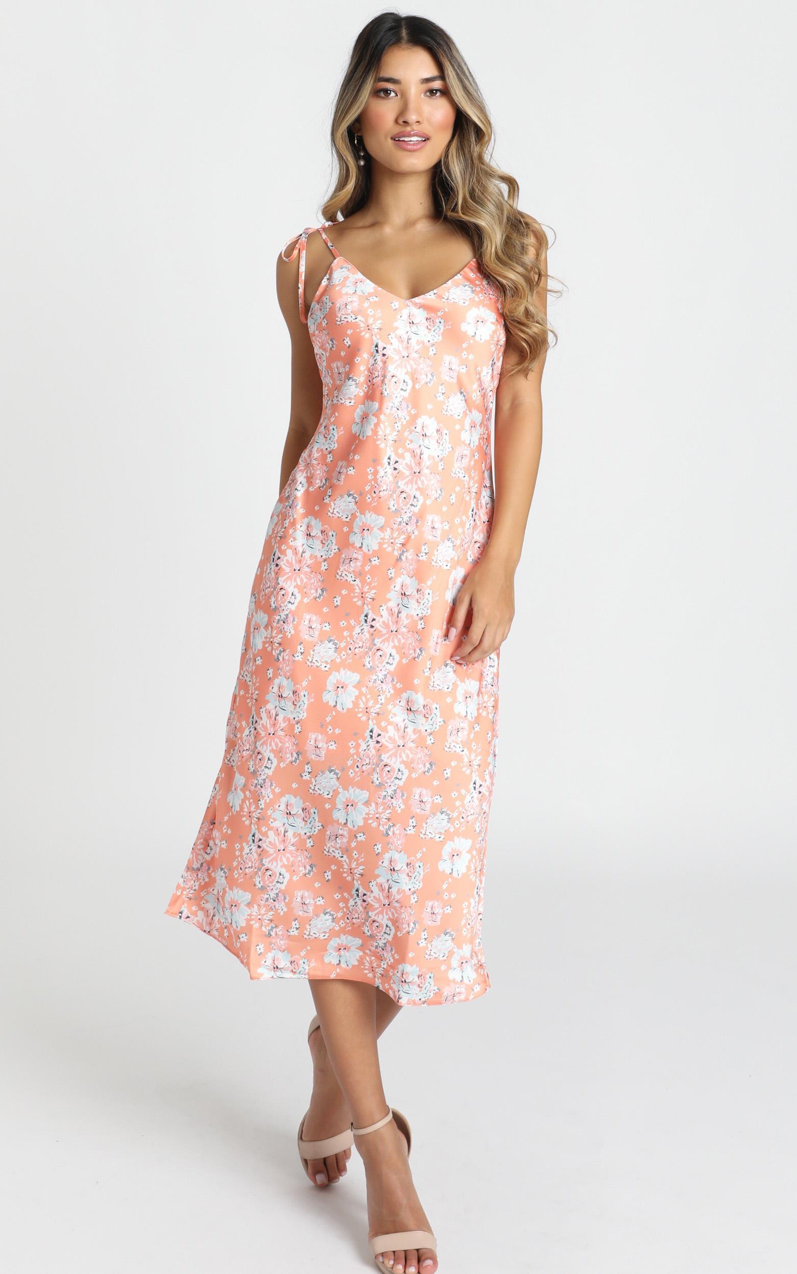 Slowing It Down dress in orange floral - 14 (XL), Orange, hi-res image number null