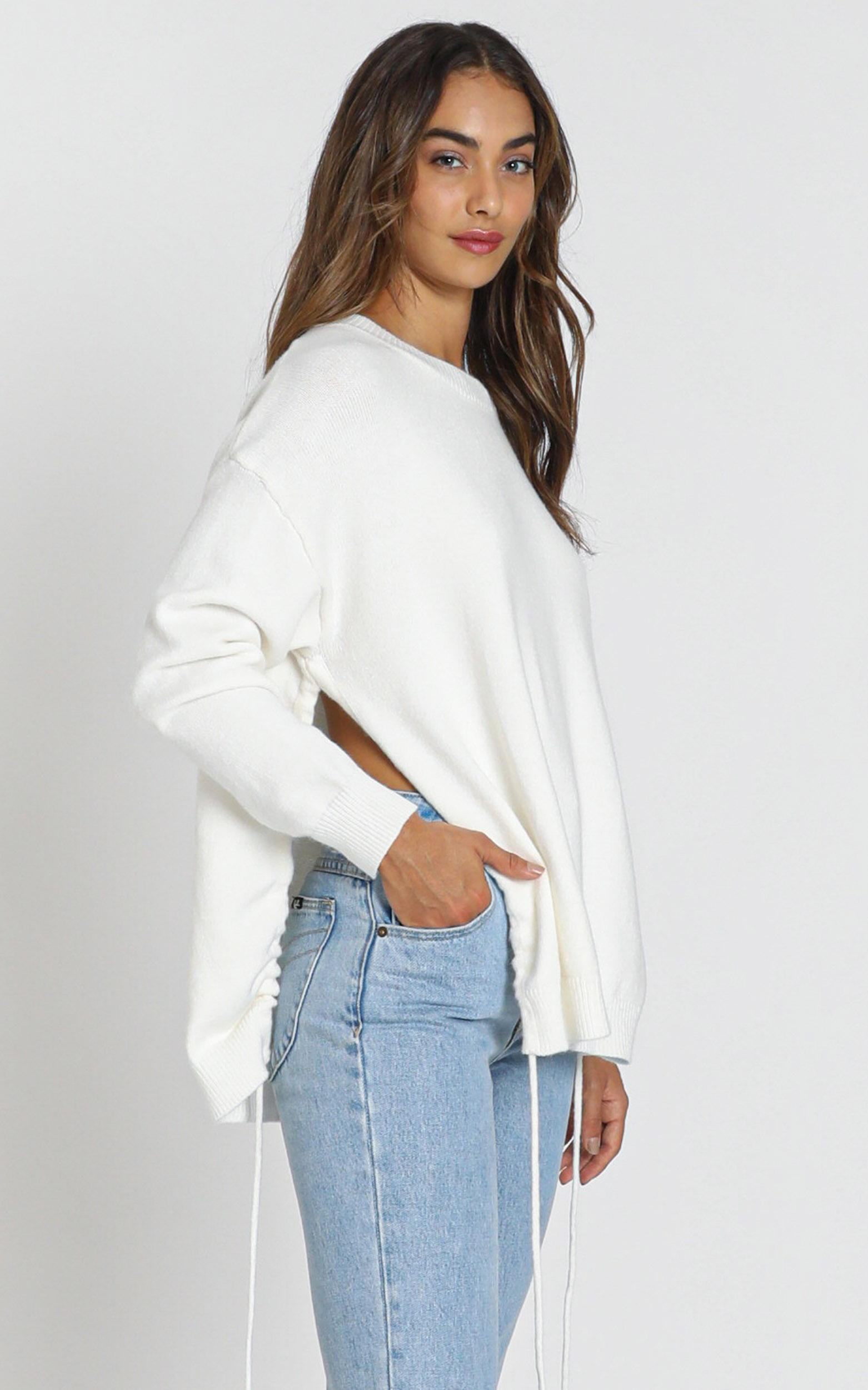 Louisiana Ruched Detail Knit in white - S/M, White, hi-res image number null