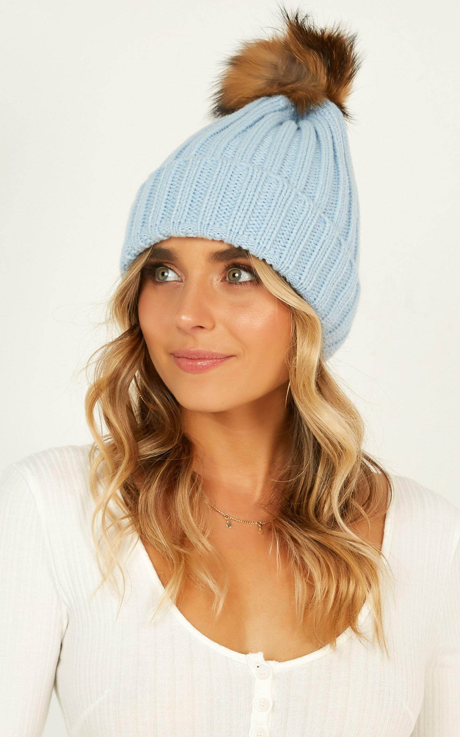 Key To My Heart Beanie In Baby Blue, Blue, hi-res image number null