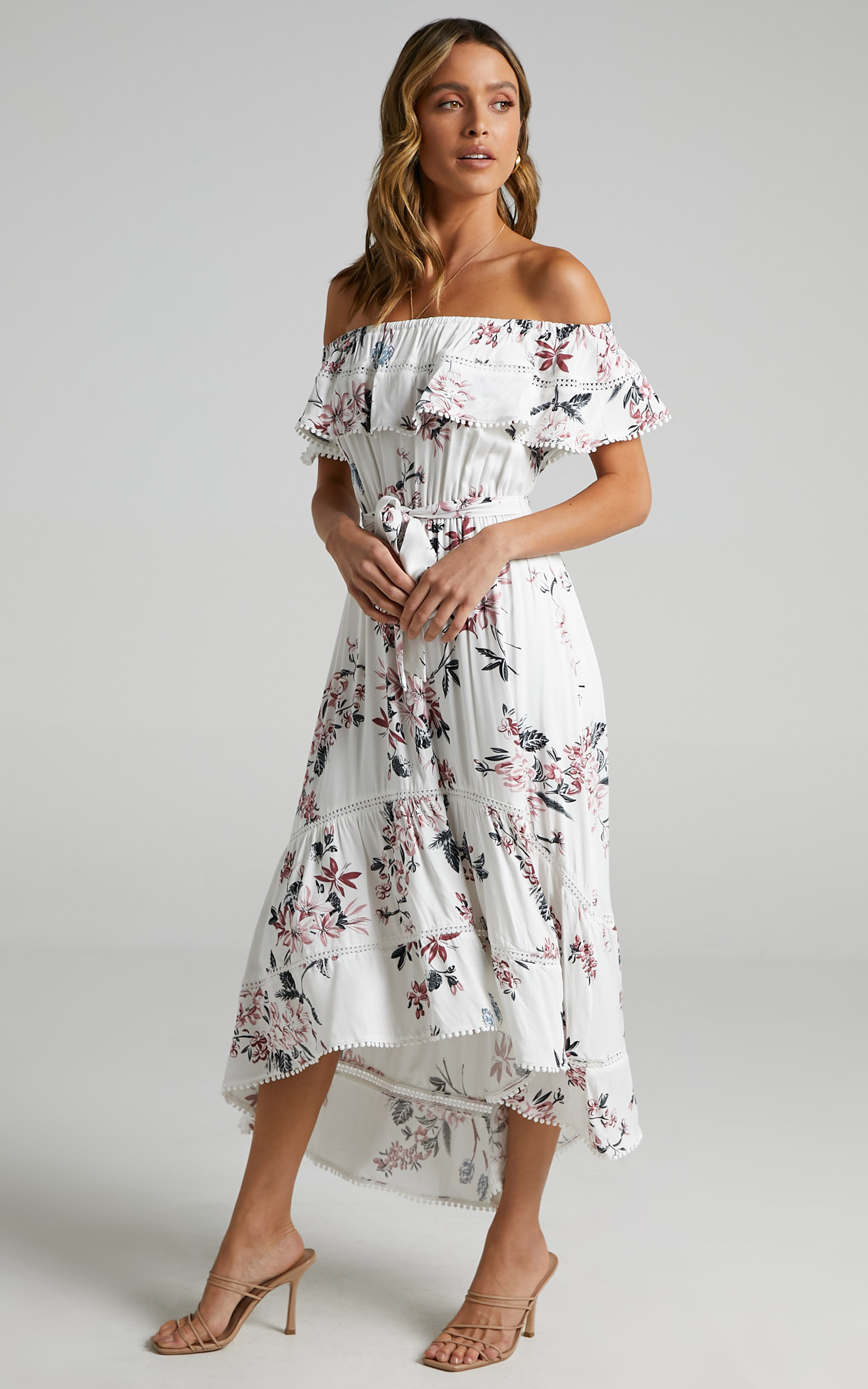 Ada Frill Maxi Dress in white floral - 6 (XS), WHT1, hi-res image number null