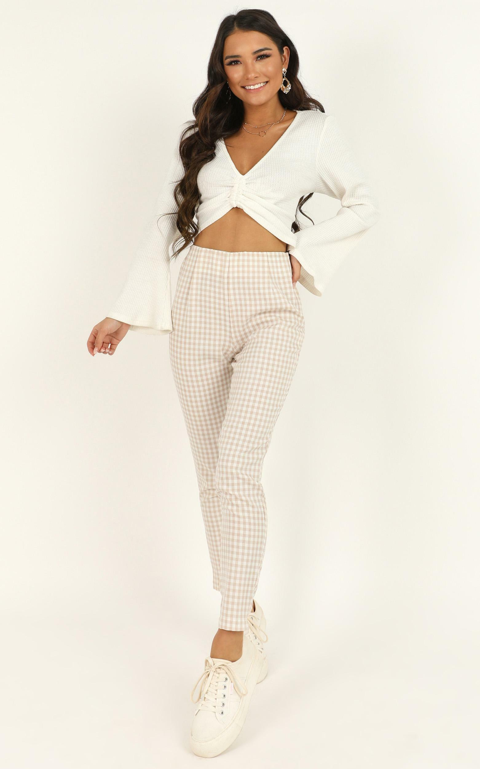 Business District Ankle Grazer Pant In cream check - 14 (XL), Cream, hi-res image number null