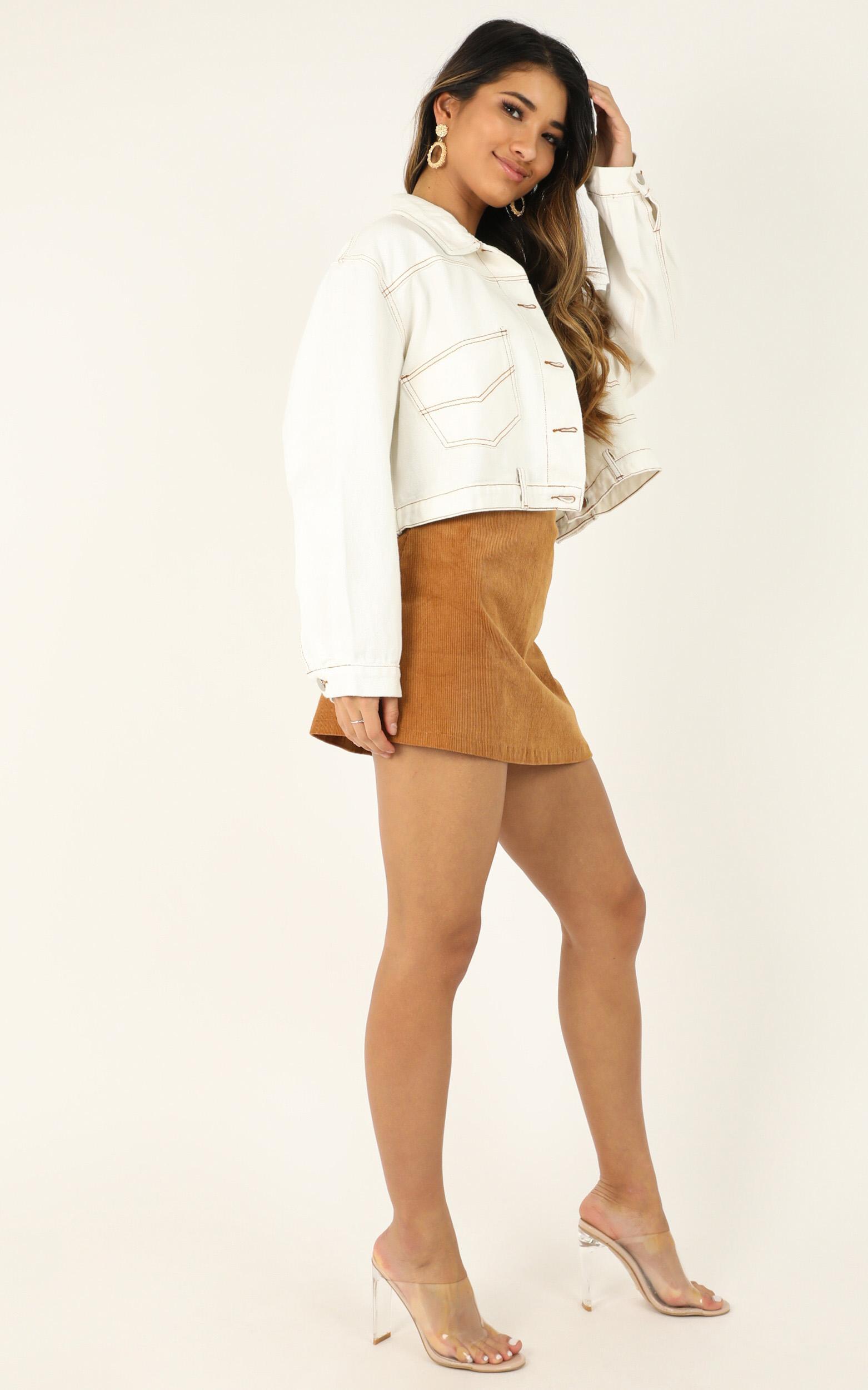 Girl Got Game denim jacket in white - 12 (L), White, hi-res image number null