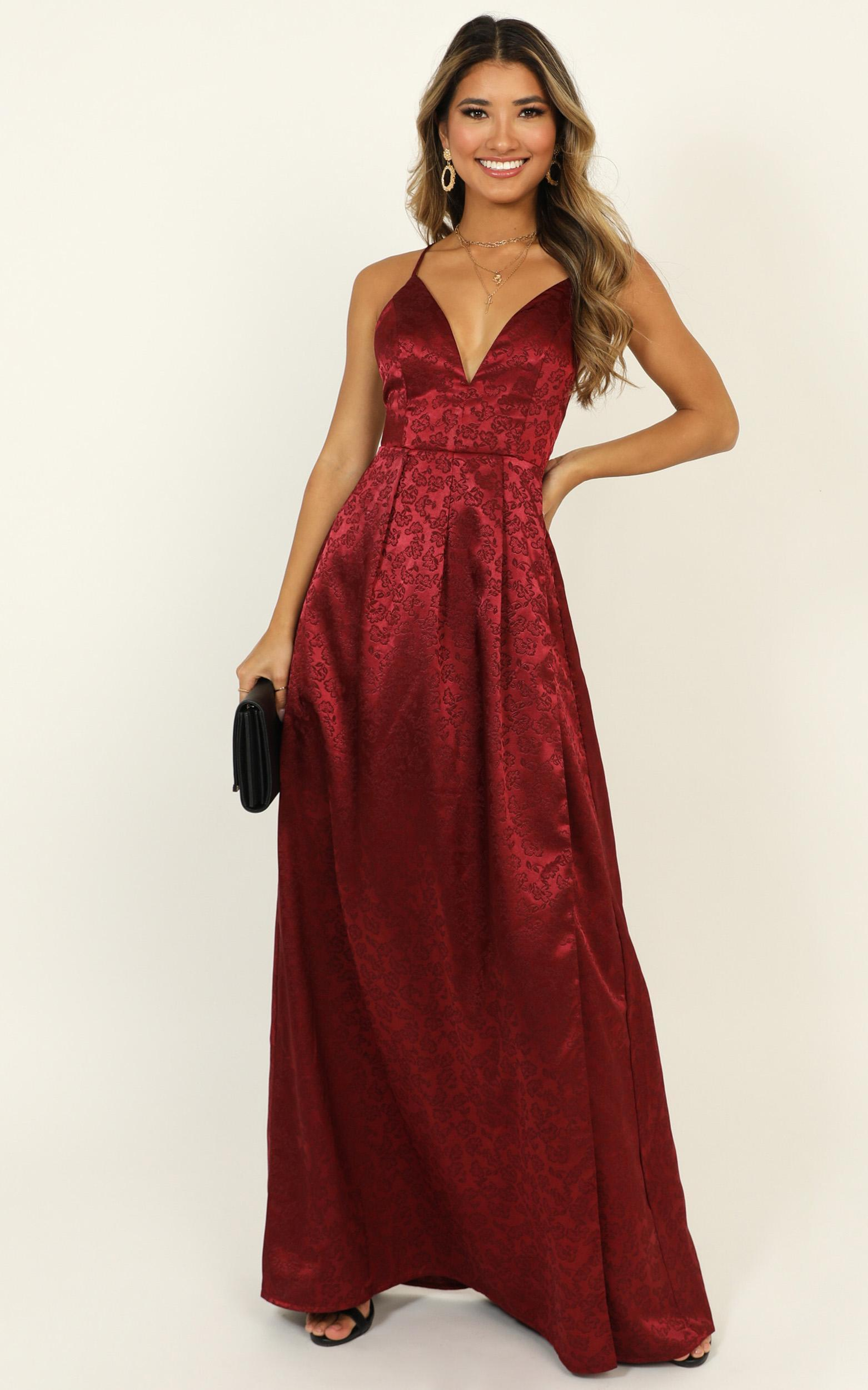 For Keeps Dress in wine jacquard - 14 (XL), Wine, hi-res image number null