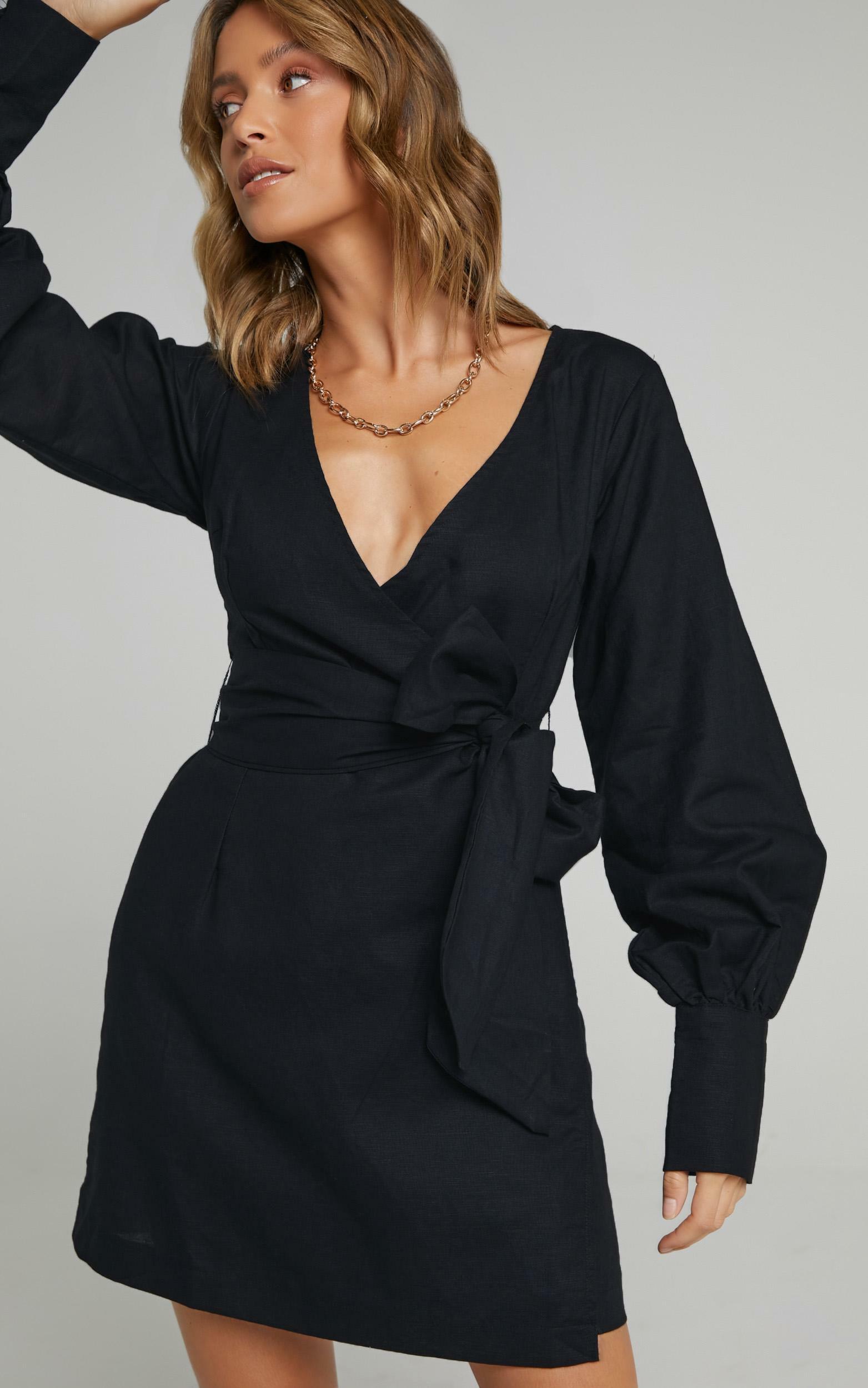 Charlie Holiday - Bella Wrap Dress in Black - XS, BLK1, hi-res image number null