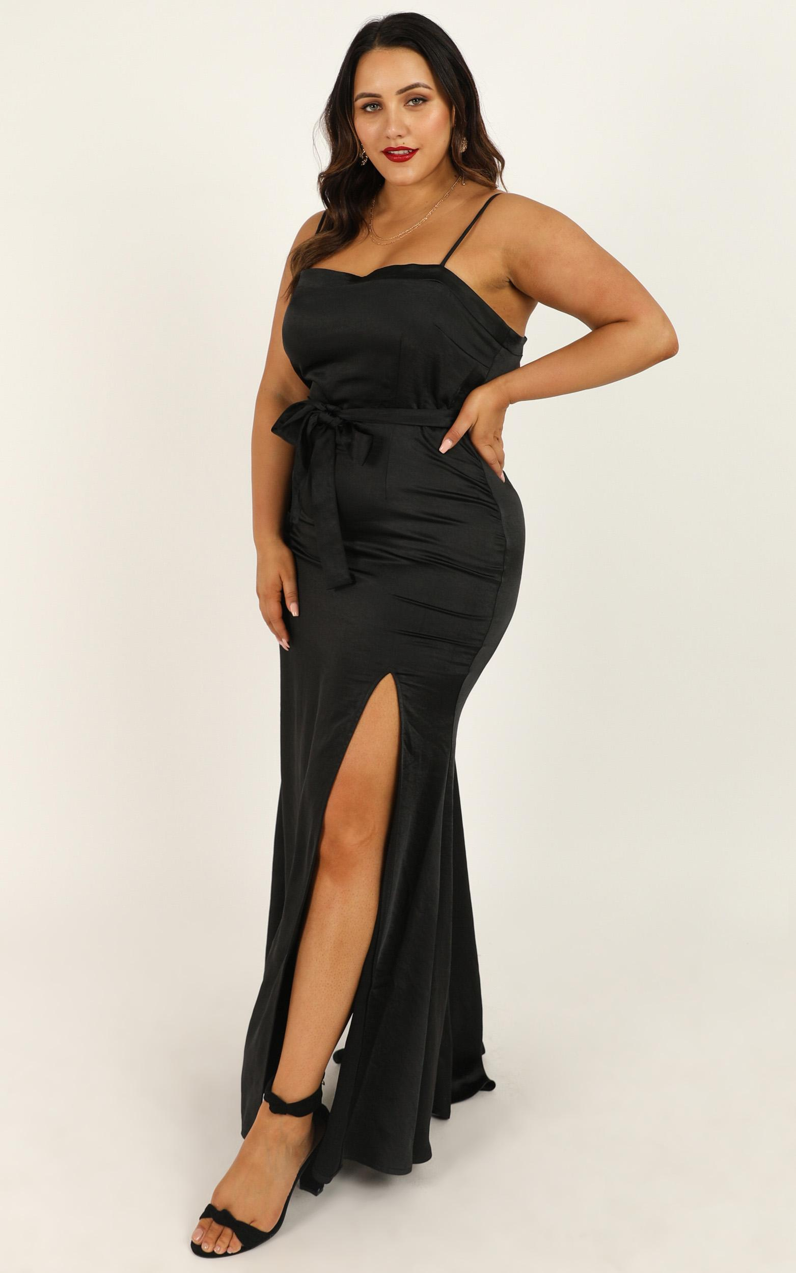 Looking Lush Dress in black satin - 20 (XXXXL), Black, hi-res image number null