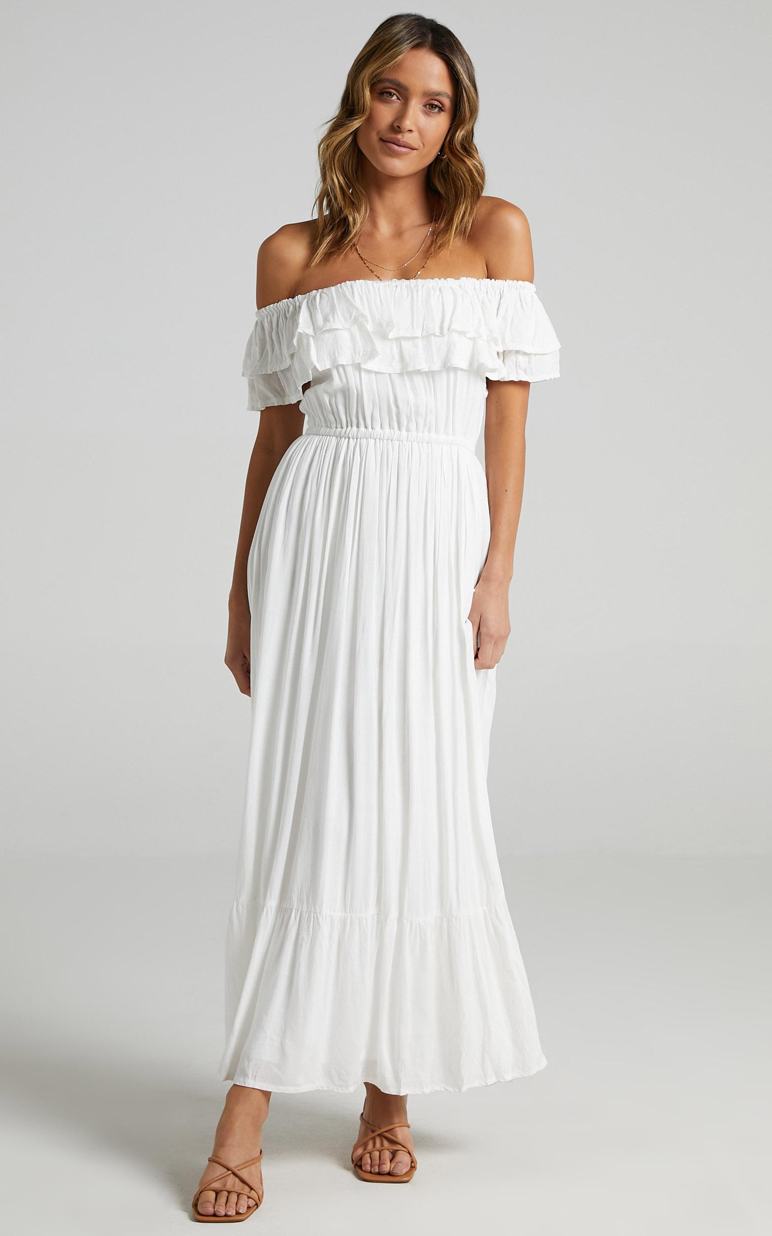 Notre Dame Off Shoulder Maxi Dress in White - 08, WHT6, hi-res image number null