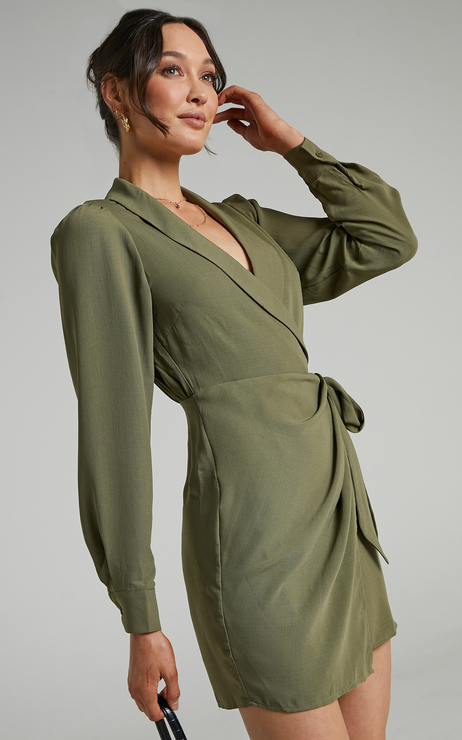 Immogen Mini Fixed Wrap Dress in Khaki - 04, GRN1, hi-res image number null