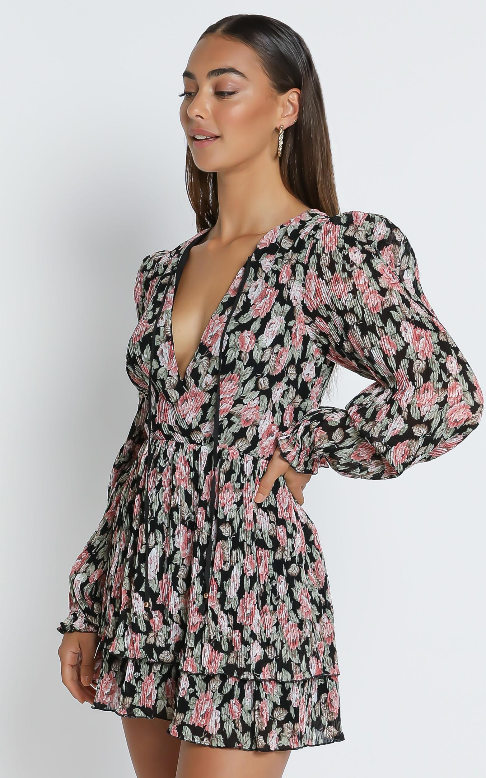 Eloise Long Sleeve Mini Dress in pleated rose floral - 4 (XXS), Pink, hi-res image number null