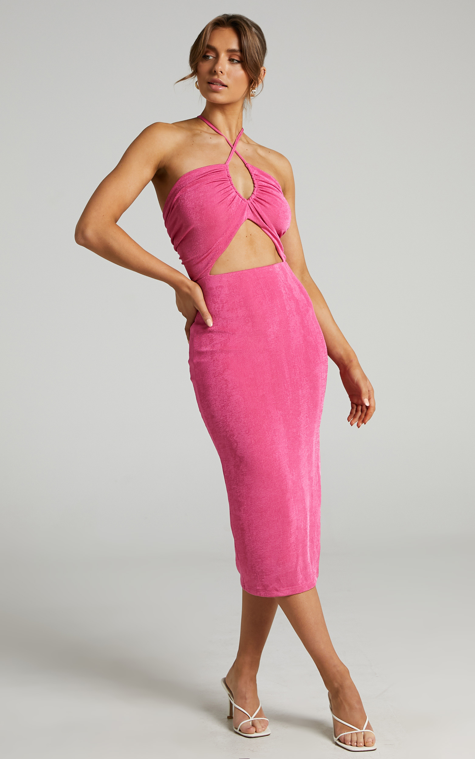 Bamba Cross Front Cut Out Midi Dress in Hot Pink - 06, PNK1, hi-res image number null