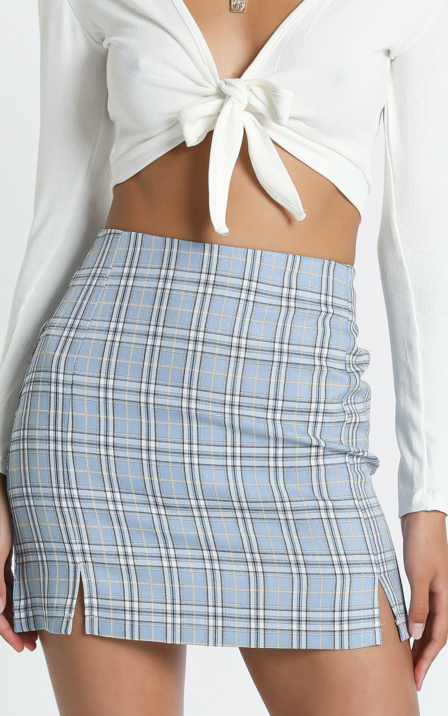 Mae Skirt in Blue check - 8 (S), Blue, hi-res image number null