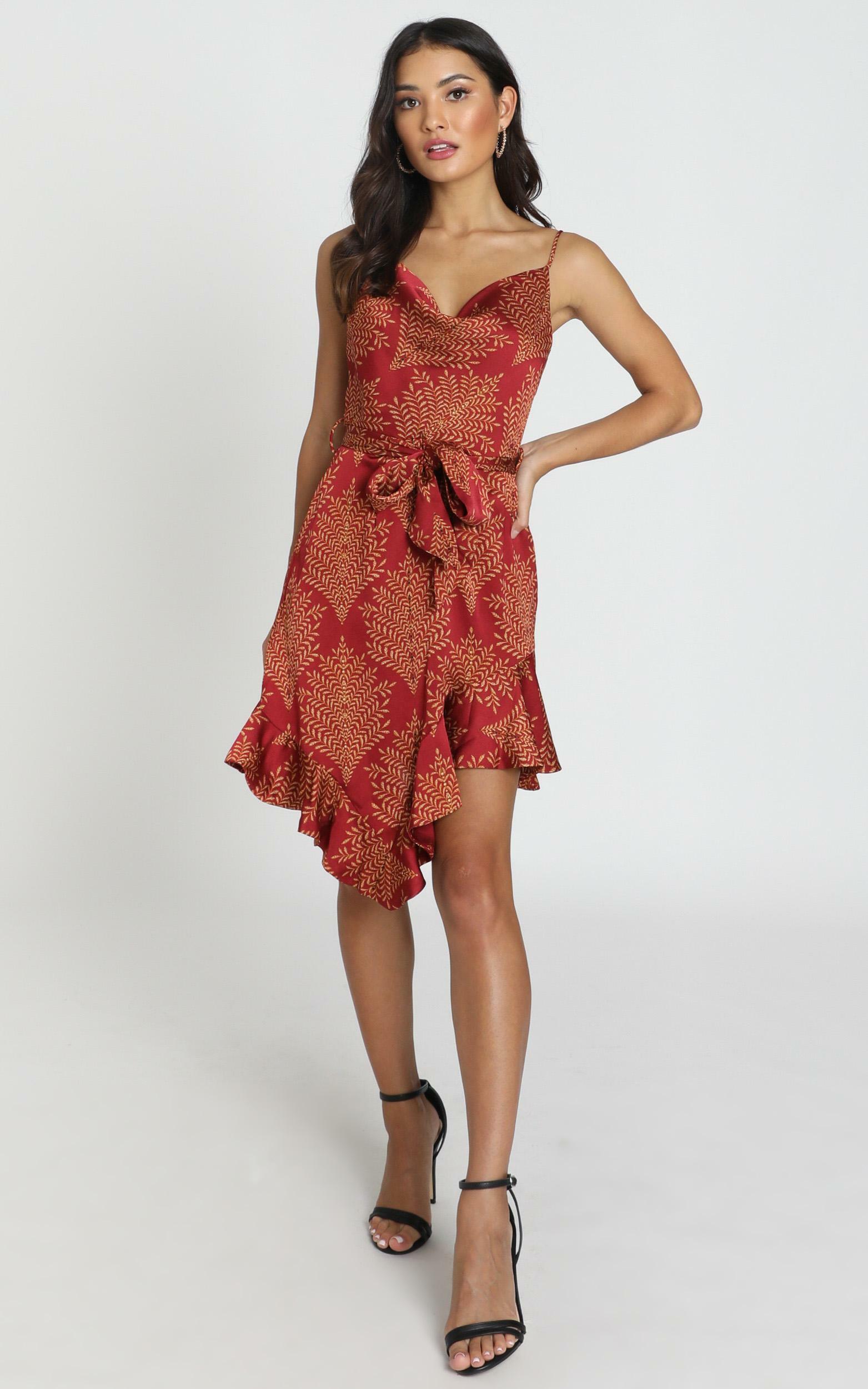 Janika Dress in wine satin - 6 (XS), Wine, hi-res image number null