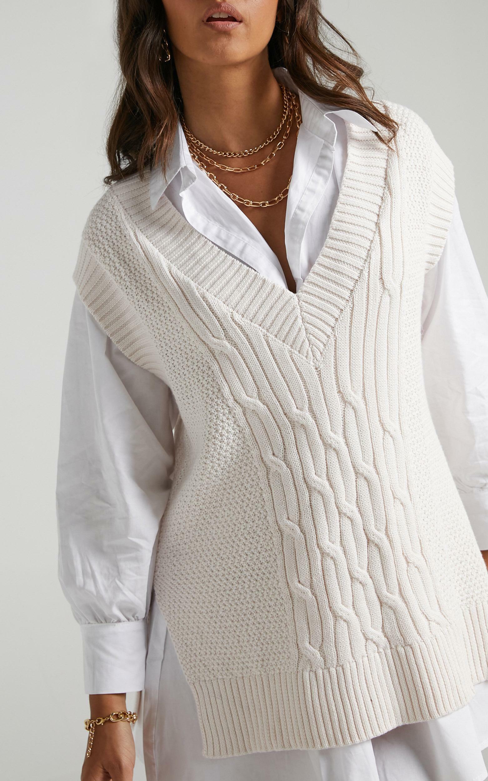 Cadha Knit Vest in Cream - 06, CRE2, hi-res image number null