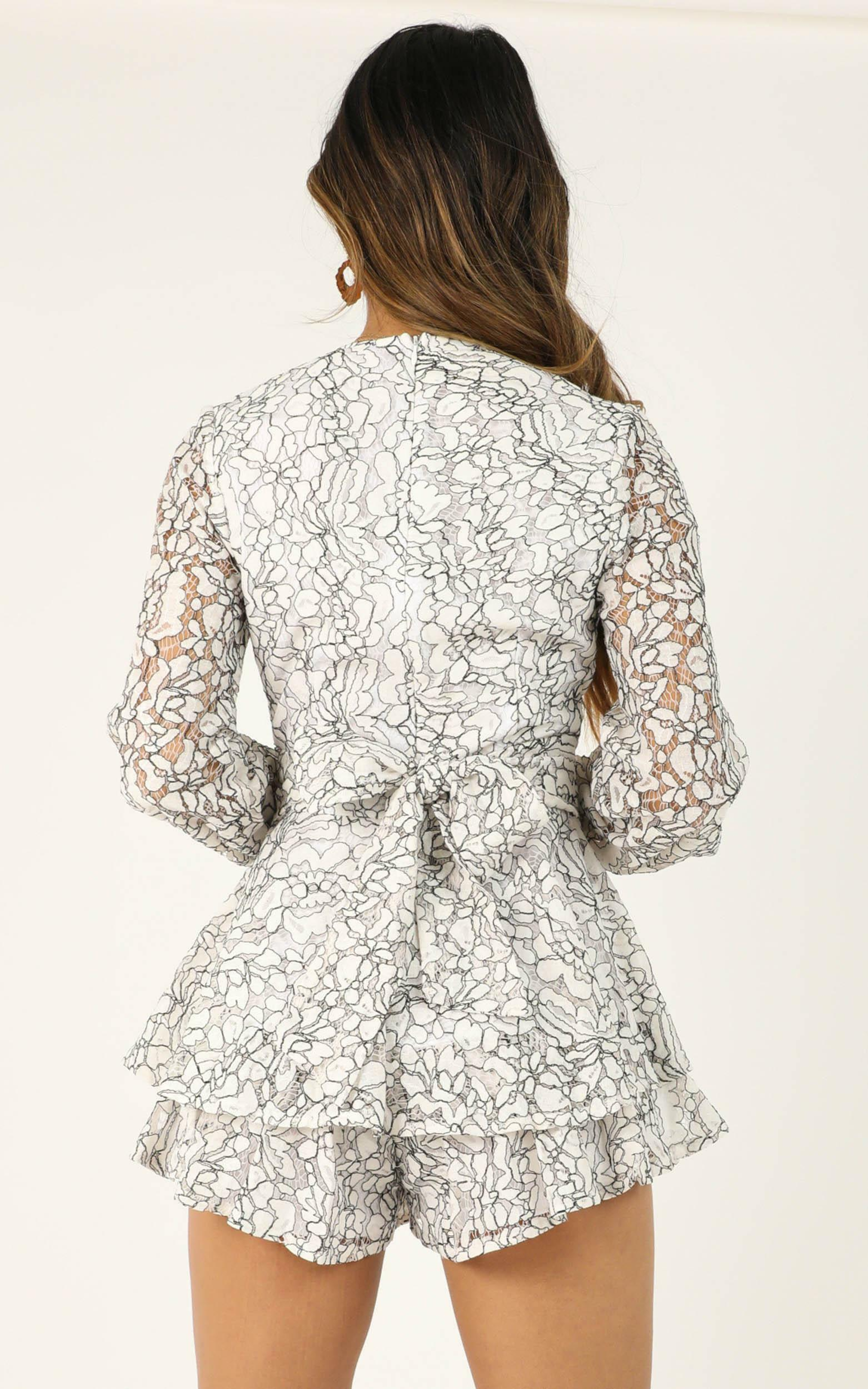 Communal Love Playsuit in white lace - 14 (XL), White, hi-res image number null