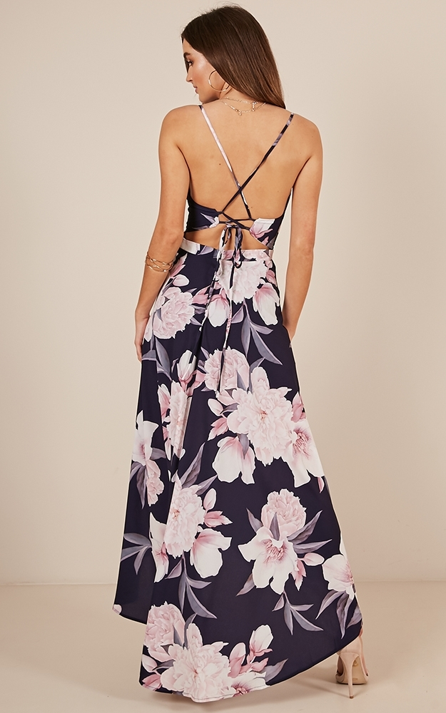 Glow up maxi dress in navy floral - 12 (L), Navy, hi-res image number null